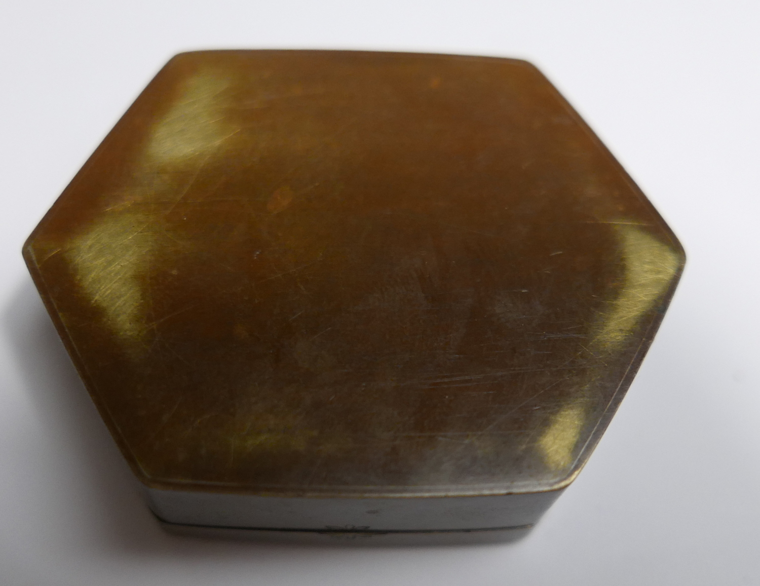 Lot 2 - Small Japanese Bronze Pot - 60mm x 45mm with insert Comb.