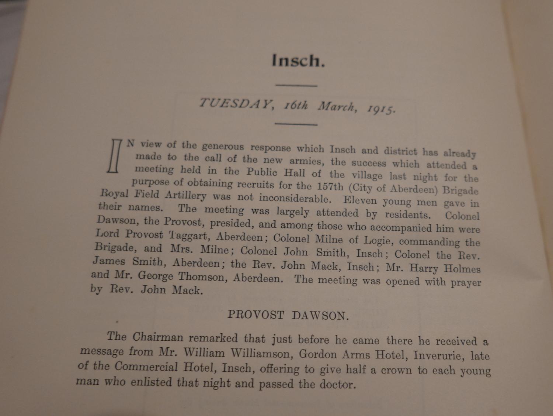 Lot 26 - The Raising of the 157th Brigade (City of Aberdeen) Royal Field Artillery Book 1917.