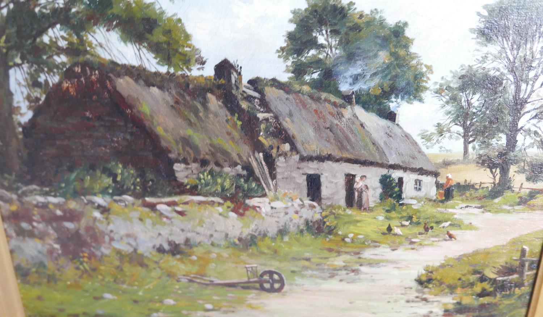 "Lot 50X - Antique Framed J.B.M.Donald RSA Oil Painting of Croft Scene actual oil 14 `1/2"" x 11 1/2"""