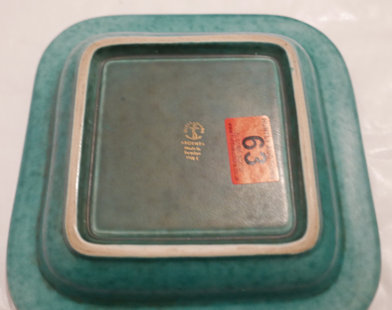 """Lot 63 - Large Gustavsberg Argenta Green Dish 8 1/4"""" (210mm) square with central silvered floral pattern."""
