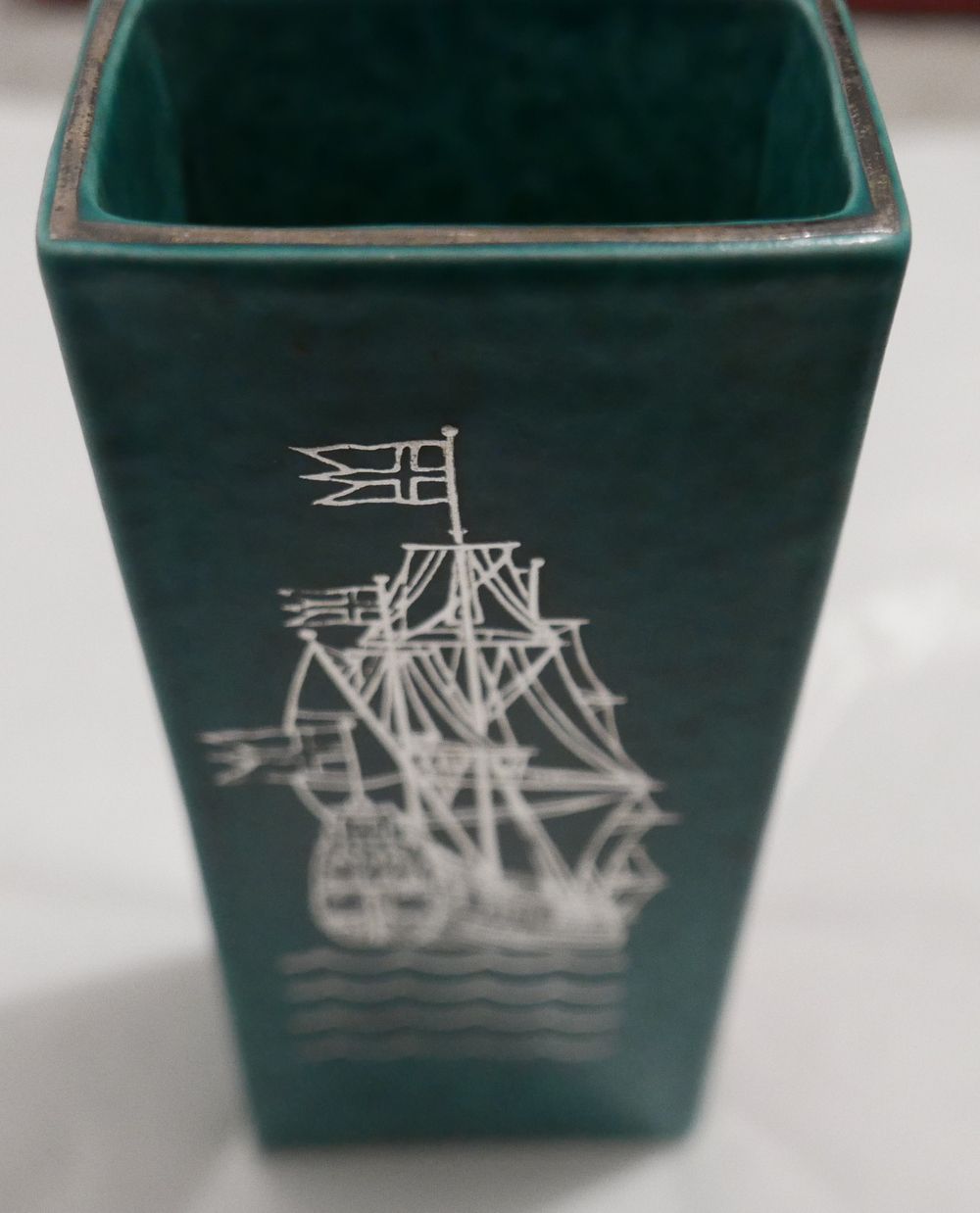 "Lot 62 - Gustavsberg Argenta Wasa 1628 Namnden Green Slab Vase approx 6 3/4"" (174mm) tall"