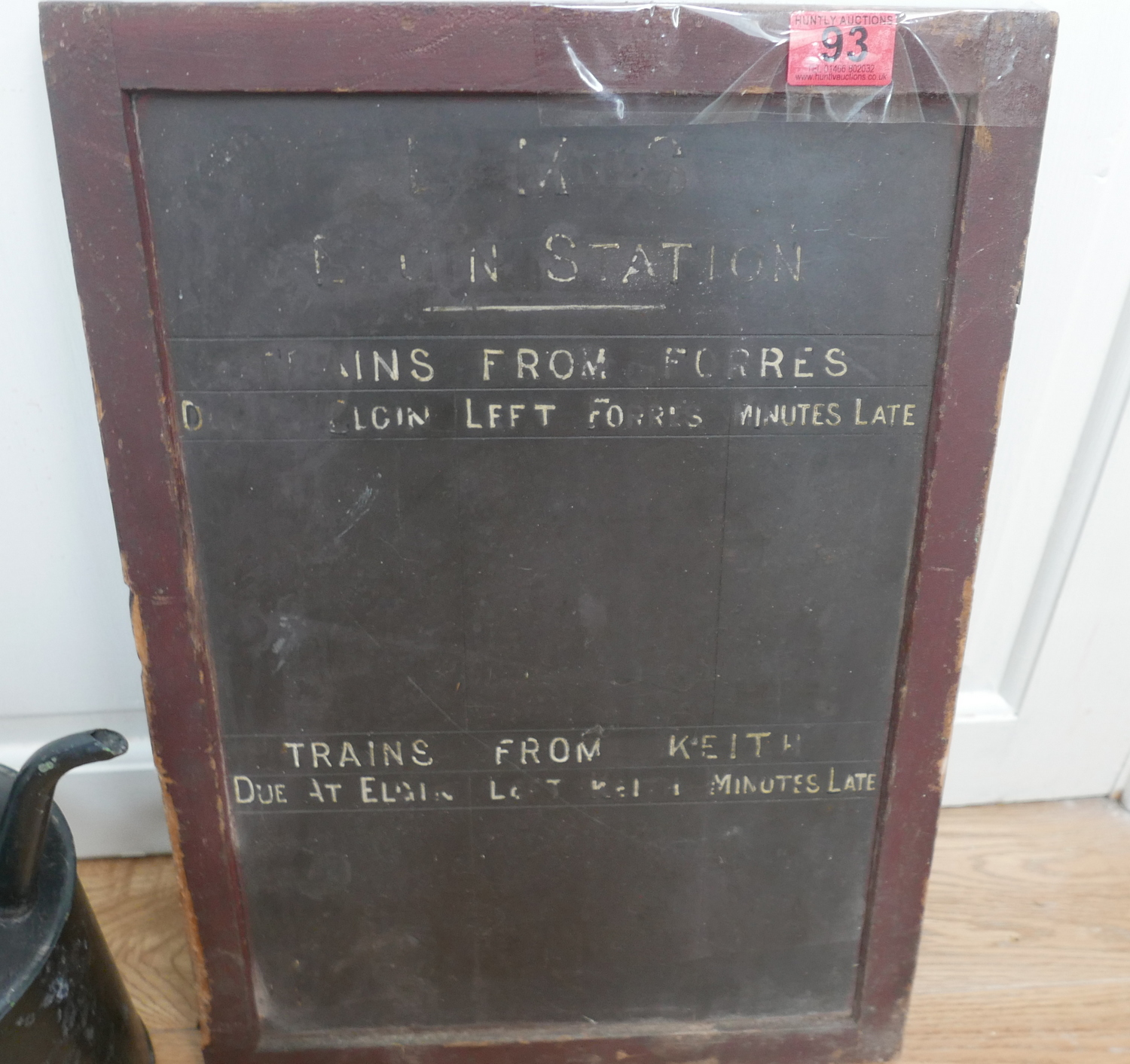 Lot 93 - LMS Railway Slate Departure Board Elgin-Keith and Railway Insch Water Can.
