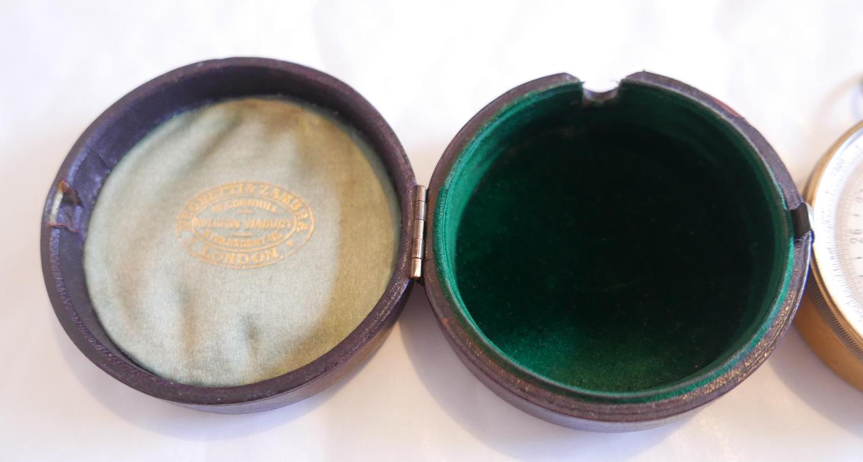 """Lot 58 - Antique Cased Negratta Zambra Pocket Barometer - 2 11/16"""" (68mm) diameter."""