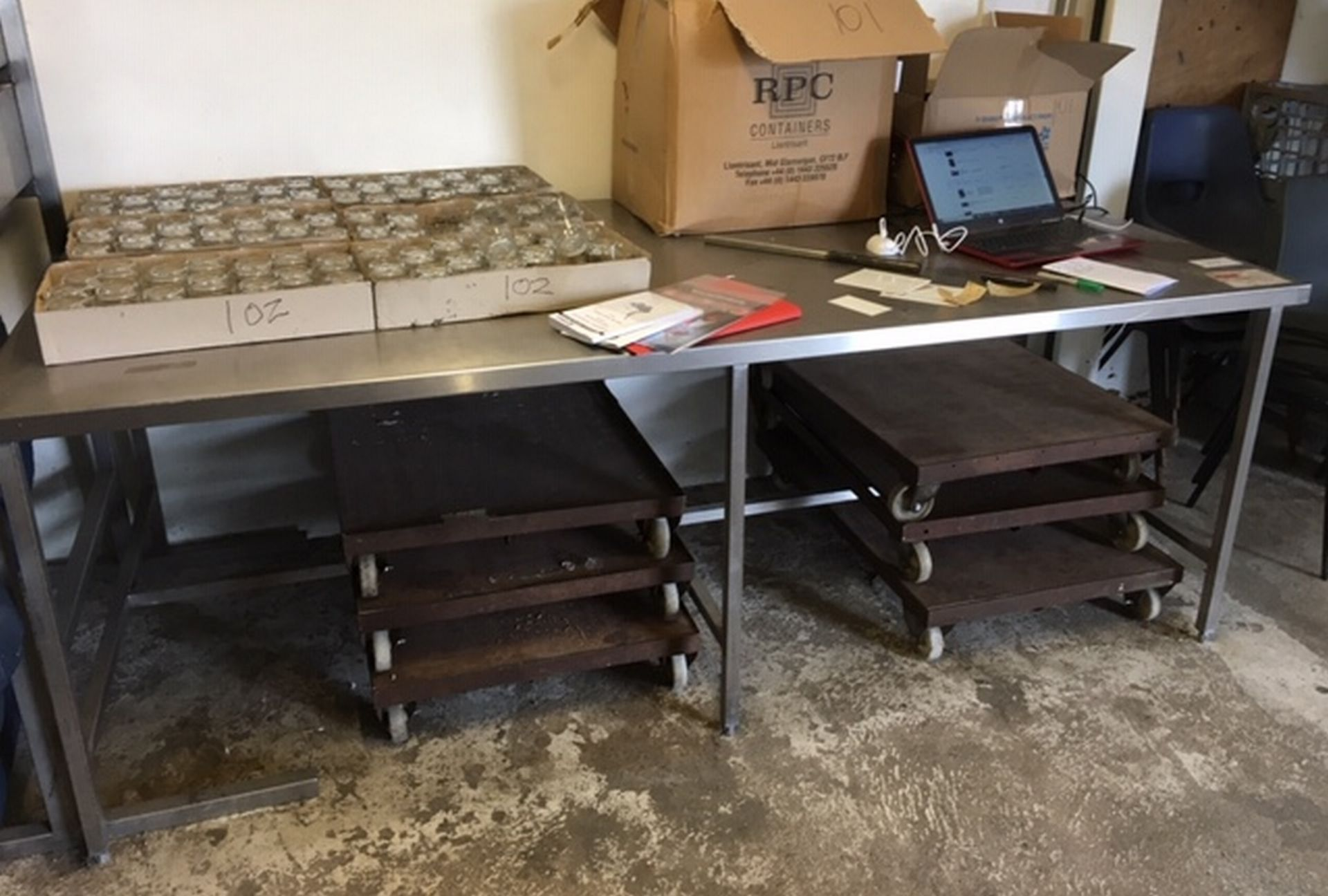 Lot 103 - Stainless Steel Table approx 8 feet x 4 feet.