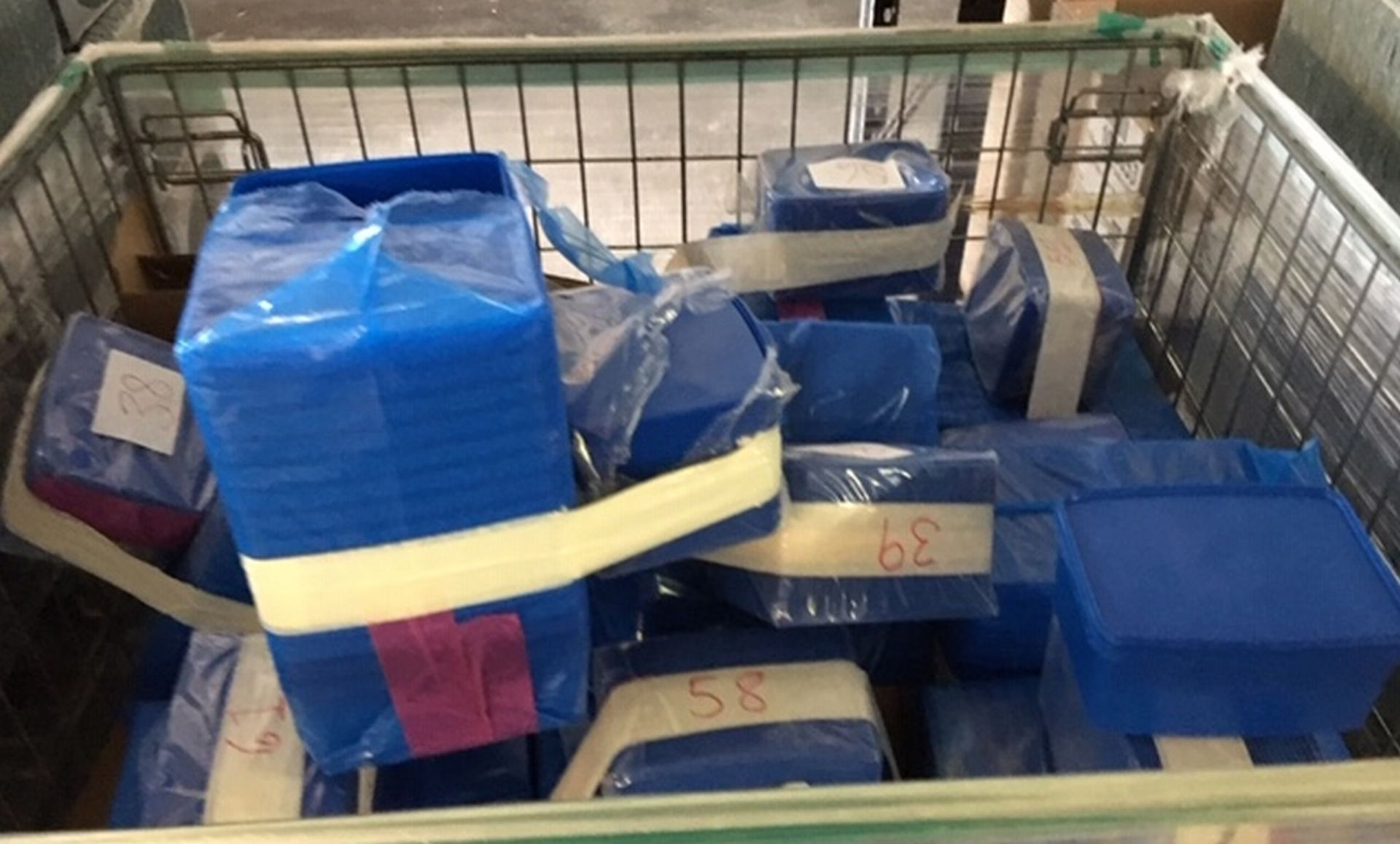 Lot 119 - Steel Cage of approximately 600 Lidded Plastic Containers 190mm x 150mm x 95mm.