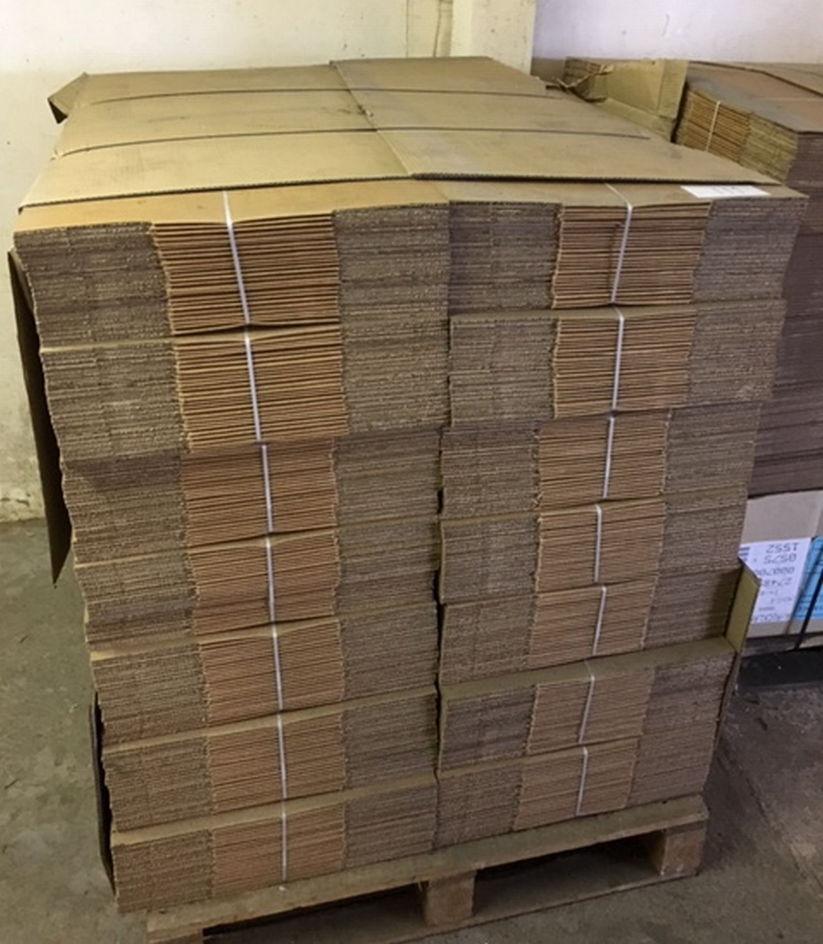 """Lot 111 - Pallet of Cardboard Boxes 700 in total each approx 11"""" x 11"""" x 7 1/2""""."""