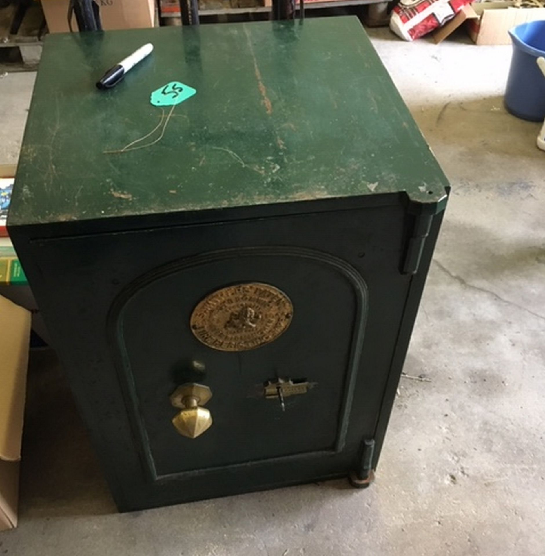 """Lot 58 - Antique S.Withins Safe - 30"""" x 21"""" x 20"""" with Key."""