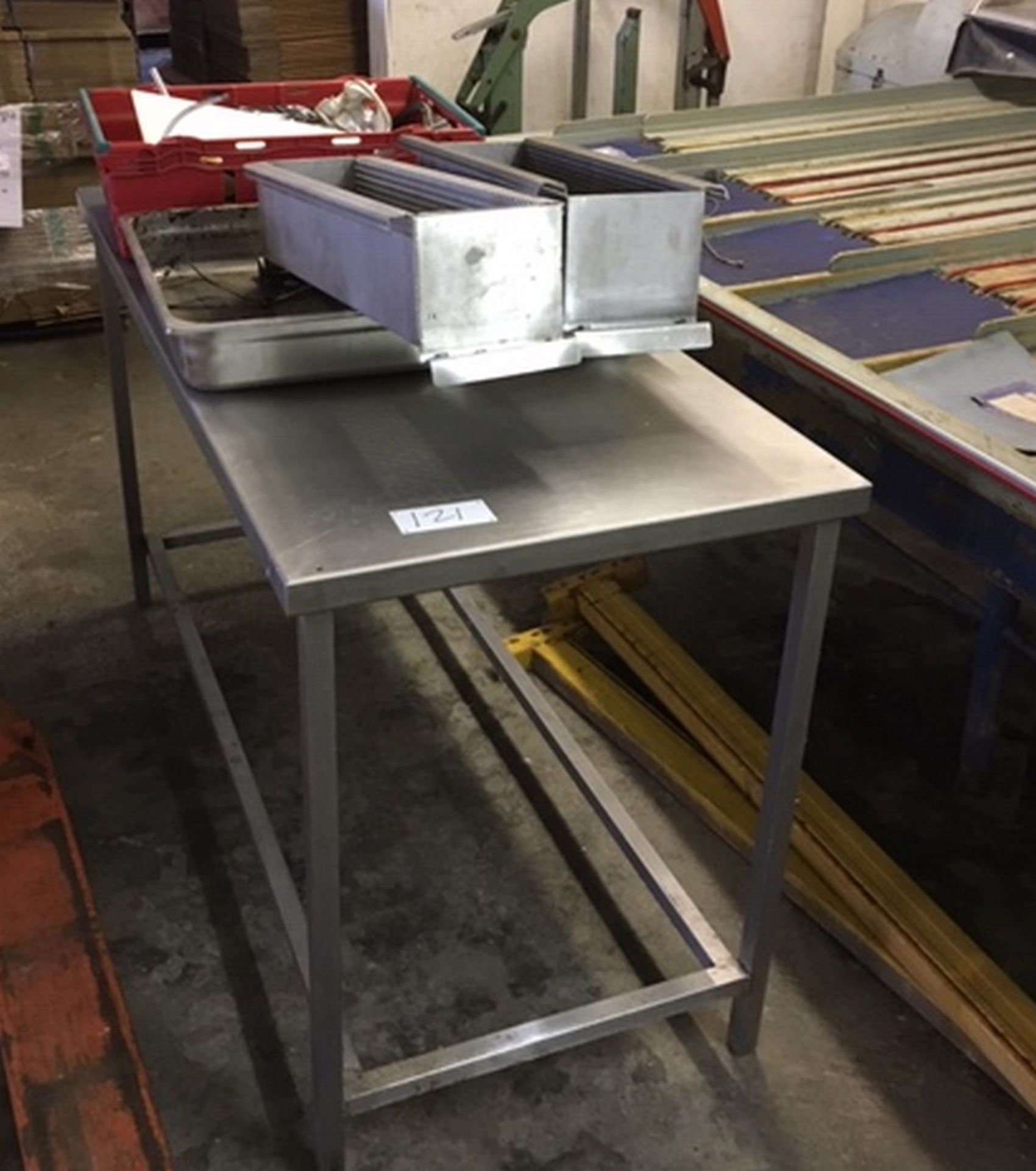Lot 121 - Stainless Steel Table approx 5 feet x 2 feet.