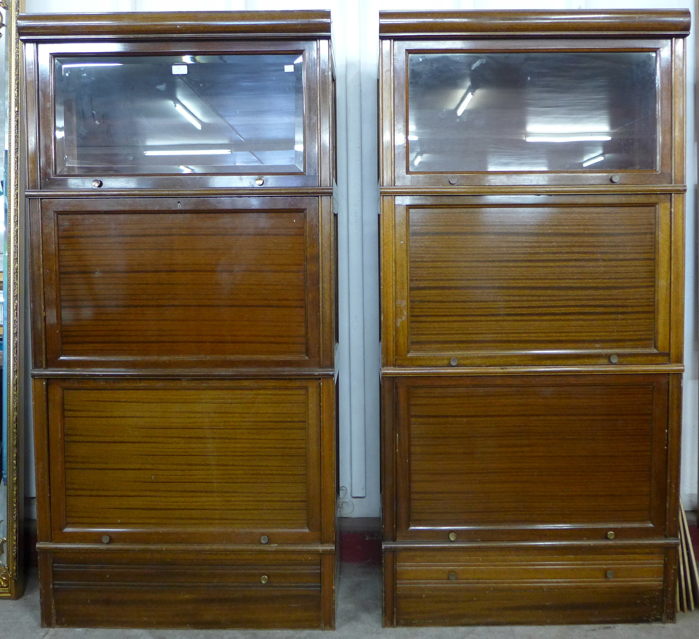 Lot 35 - A pair of mahogany sectional stacking bookcases