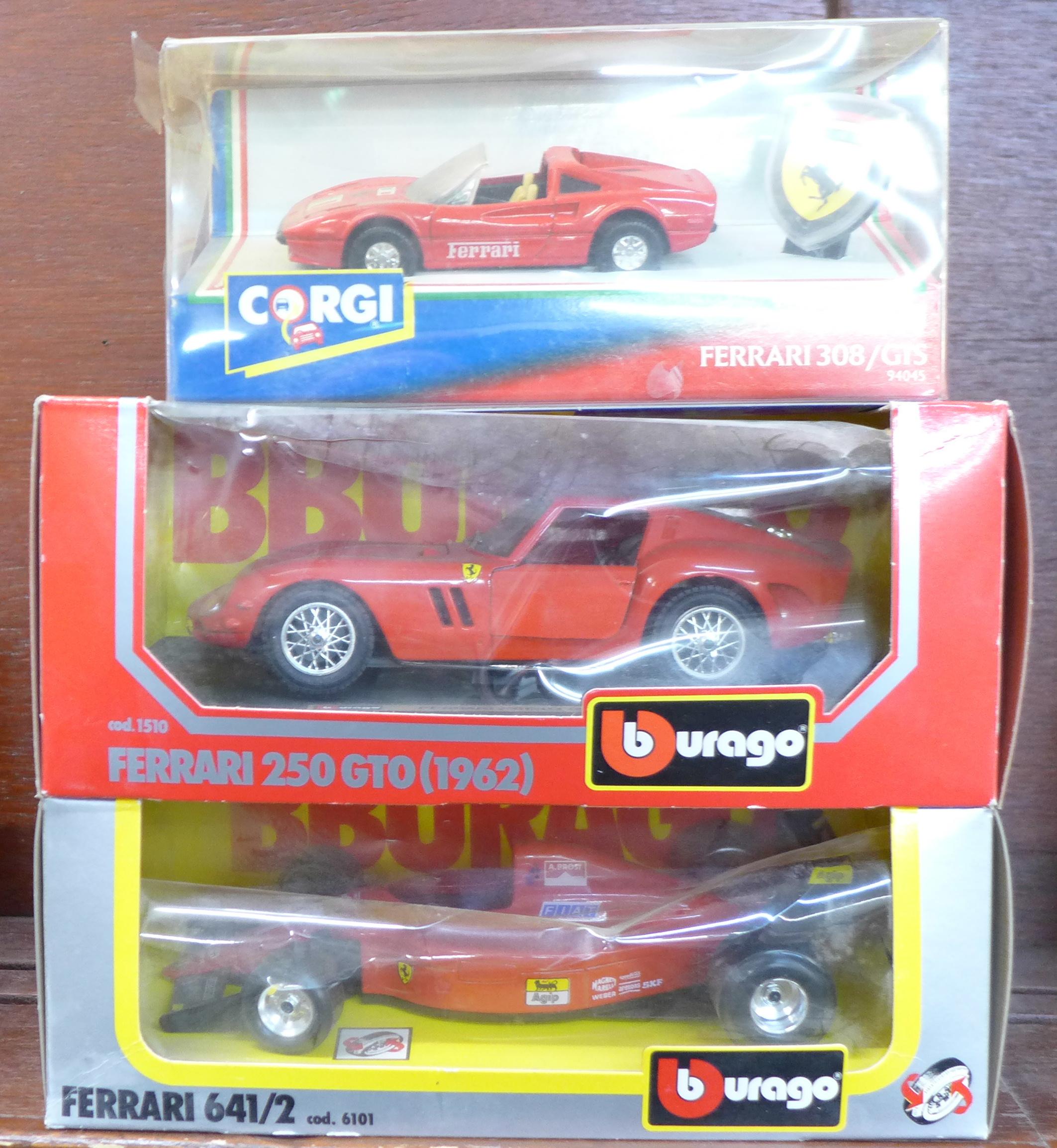 Lot 607 - A Corgi Ferrari 308, two Burago Ferraris, 250GT0 and F1,