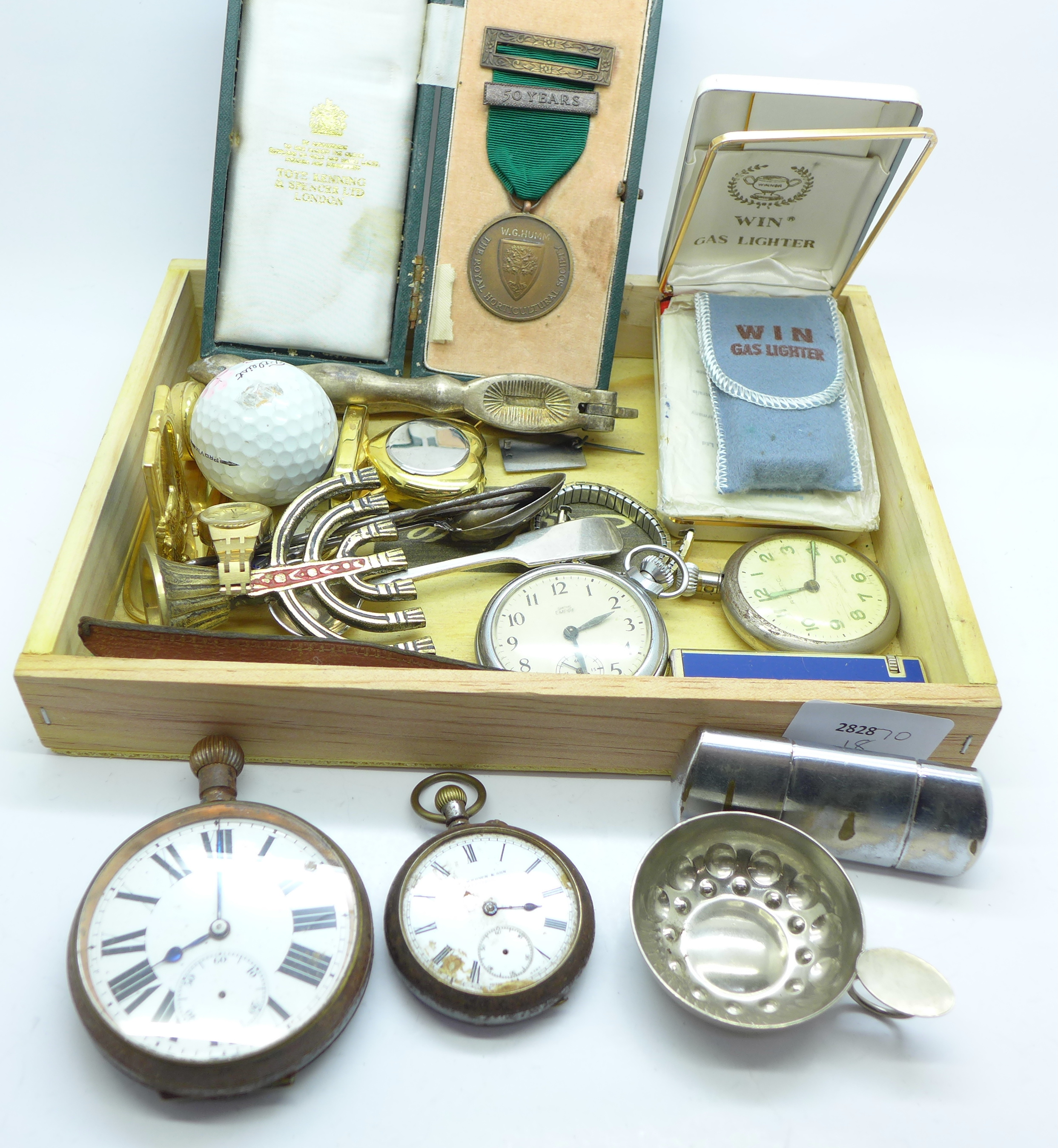 Lot 653 - Pocket watches, lighters, etc.