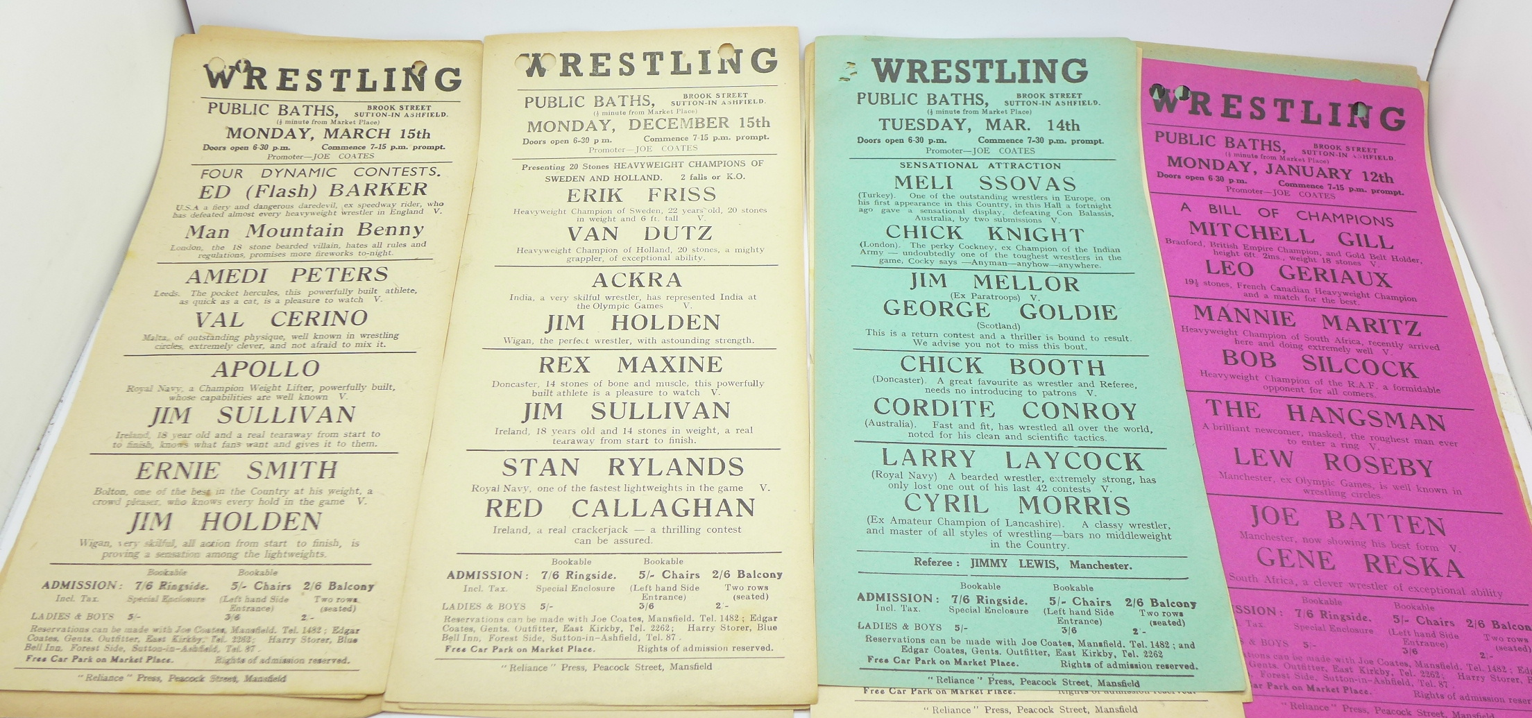 Lot 647 - A collection of seventeen 1940's wrestling event flyers, Public Baths,