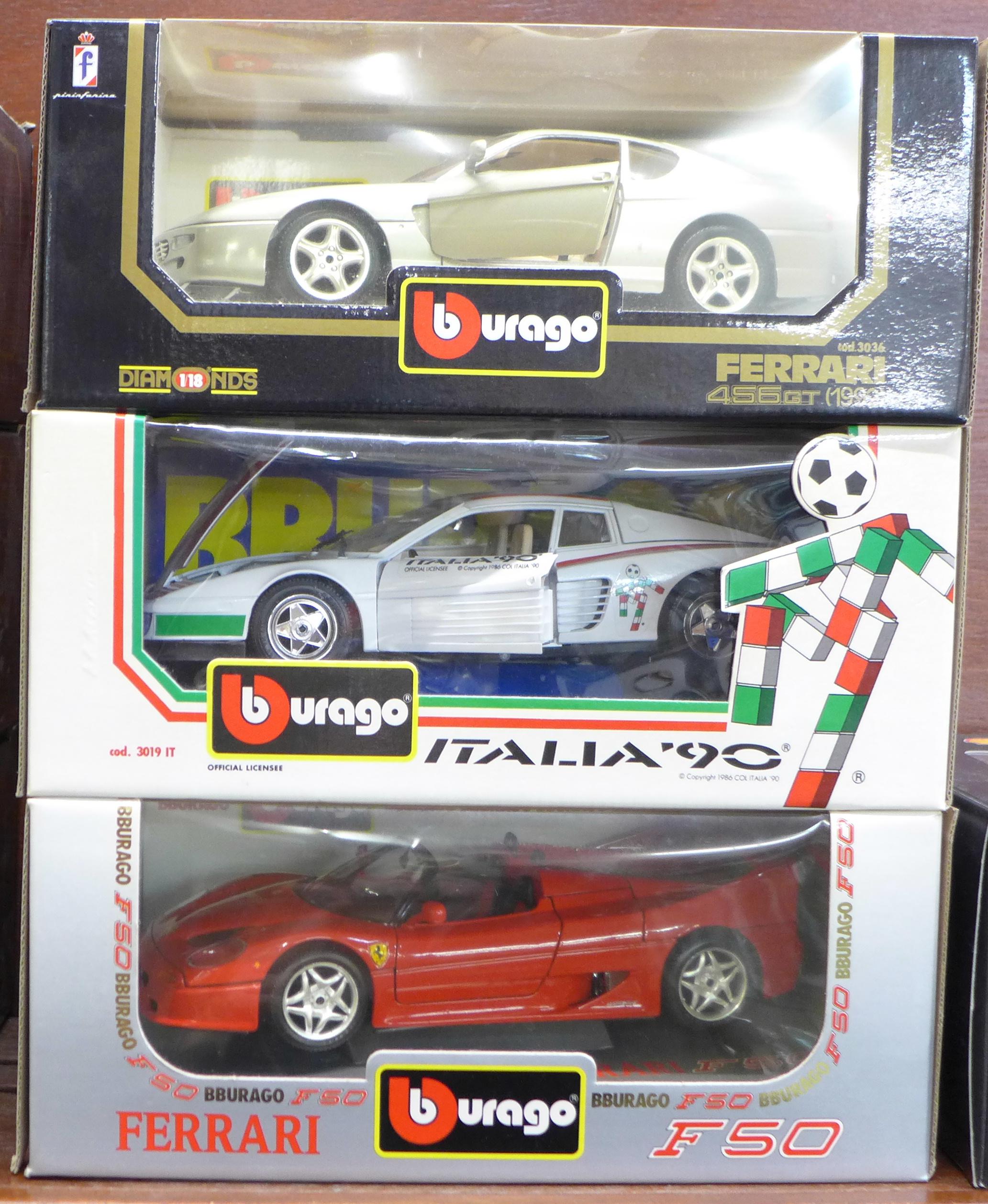 Lot 603 - Three Burago Ferrari models, 1992 456 GT, 1984 Testa Rossa and F50,