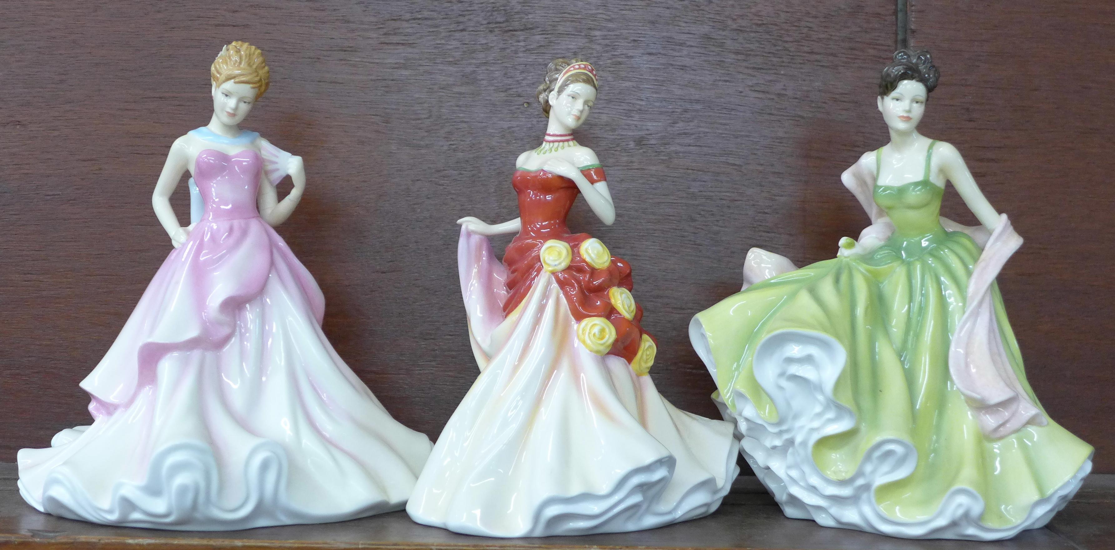 Lot 625 - Three Royal Doulton Pretty Ladies figures, Spring Ball, Autumn Ball and Summer Ball,