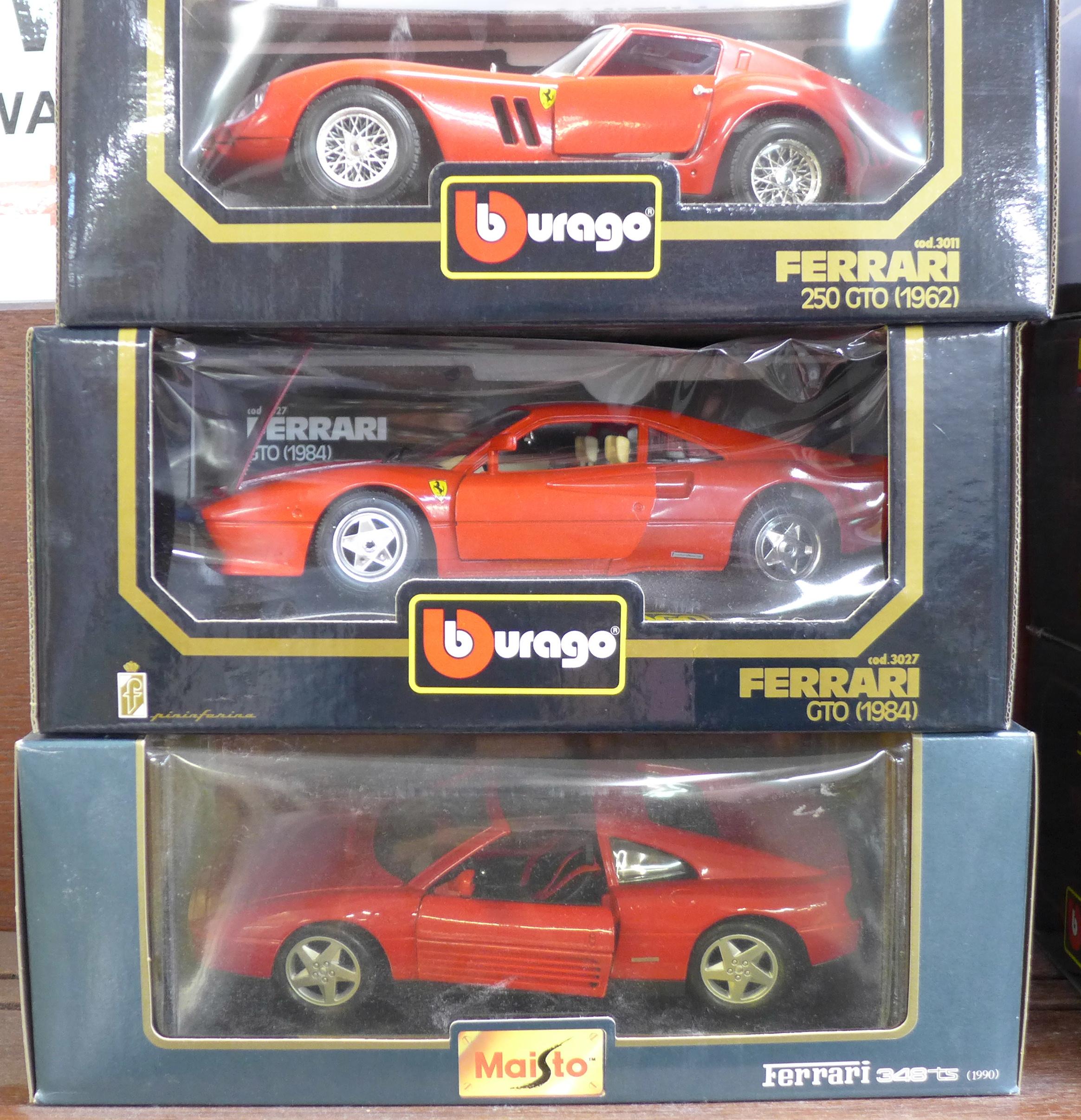 Lot 601 - Two Burago Ferrari models, 1984 GTO, 250 GTO 1962 and a Maisto Ferrari 348 TS, 1990,