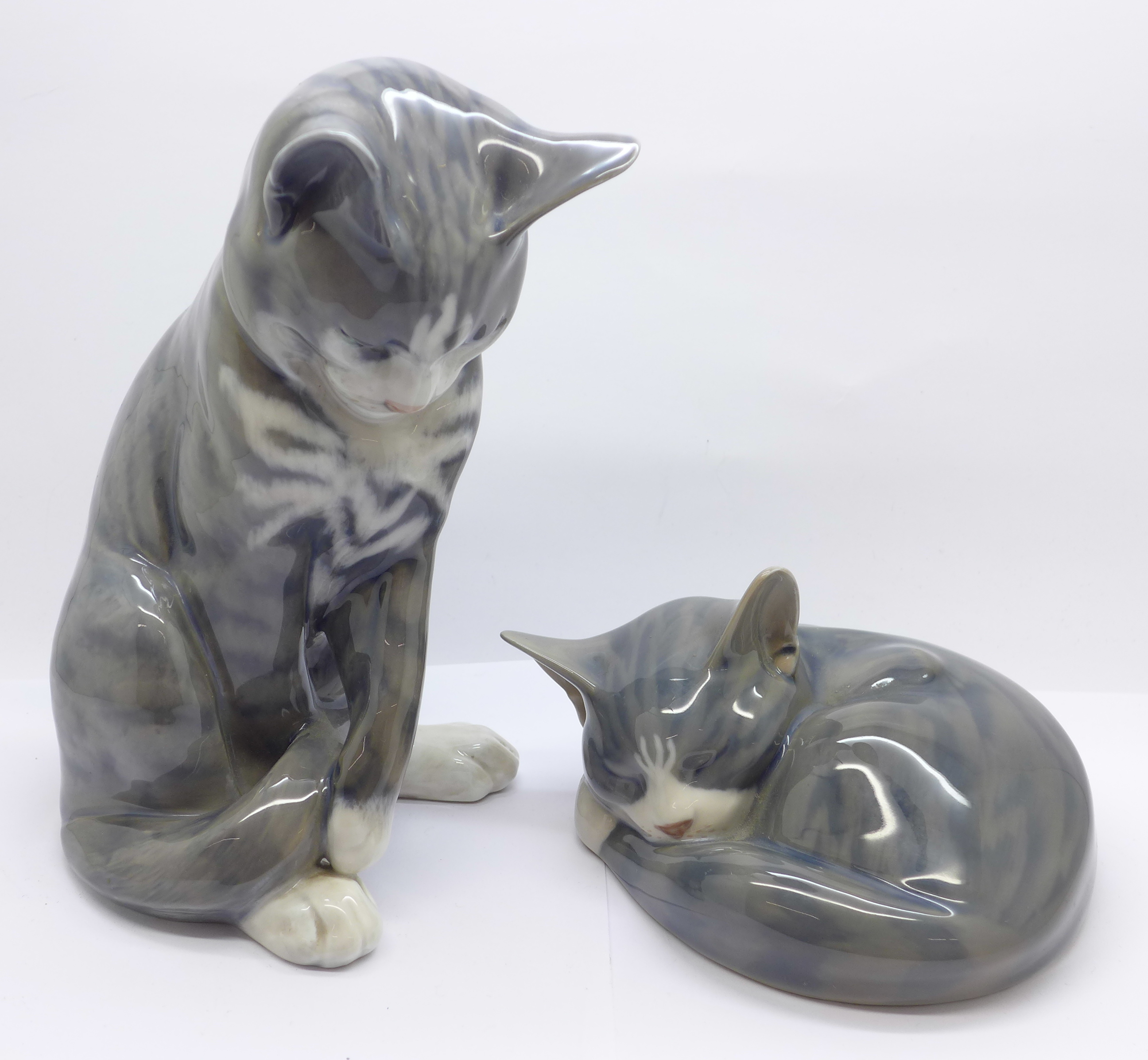 Lot 612 - Two Royal Copenhagen figures of cats, 18.