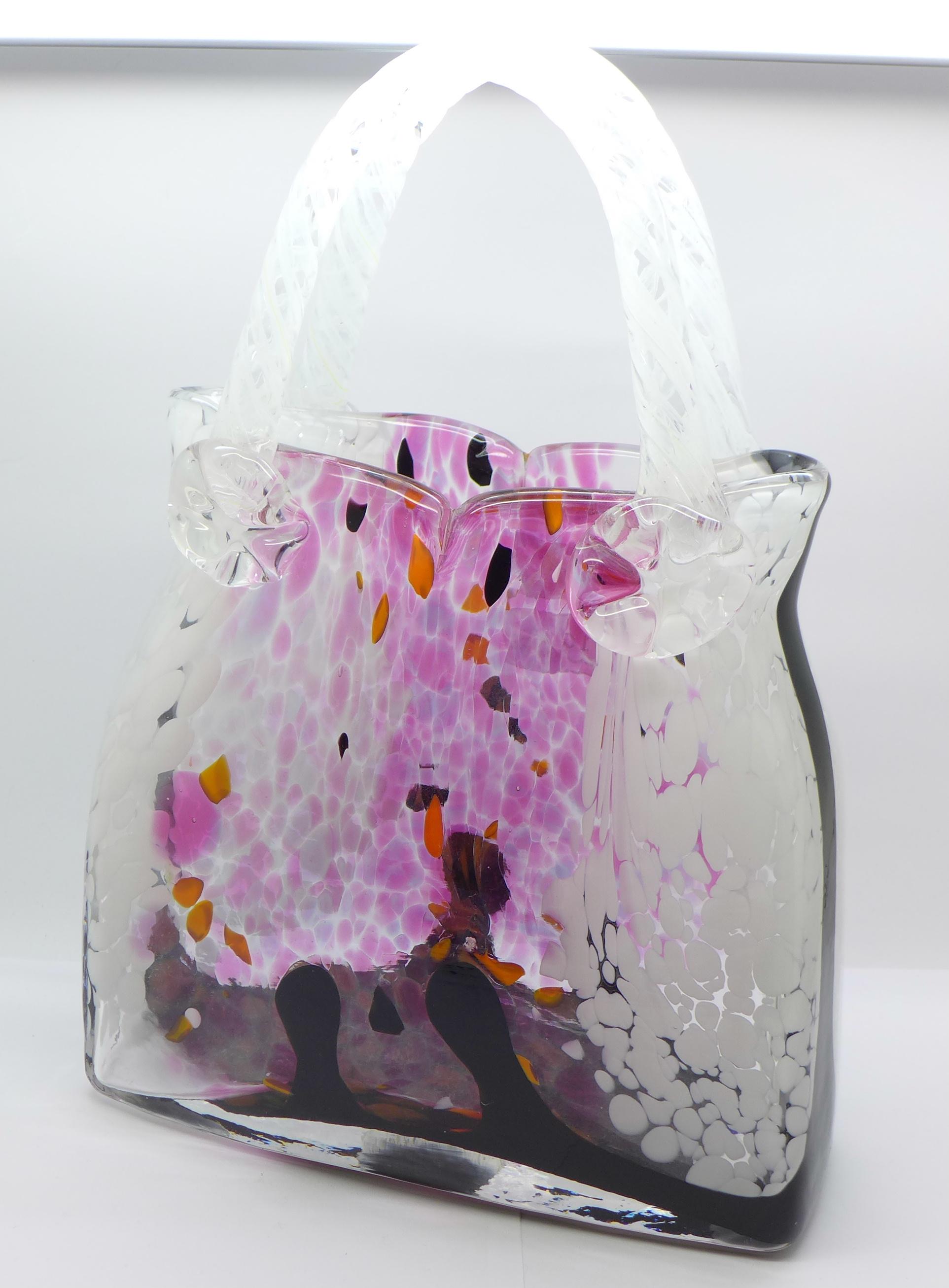 Lot 610 - A Murano glass handbag vase, 31.