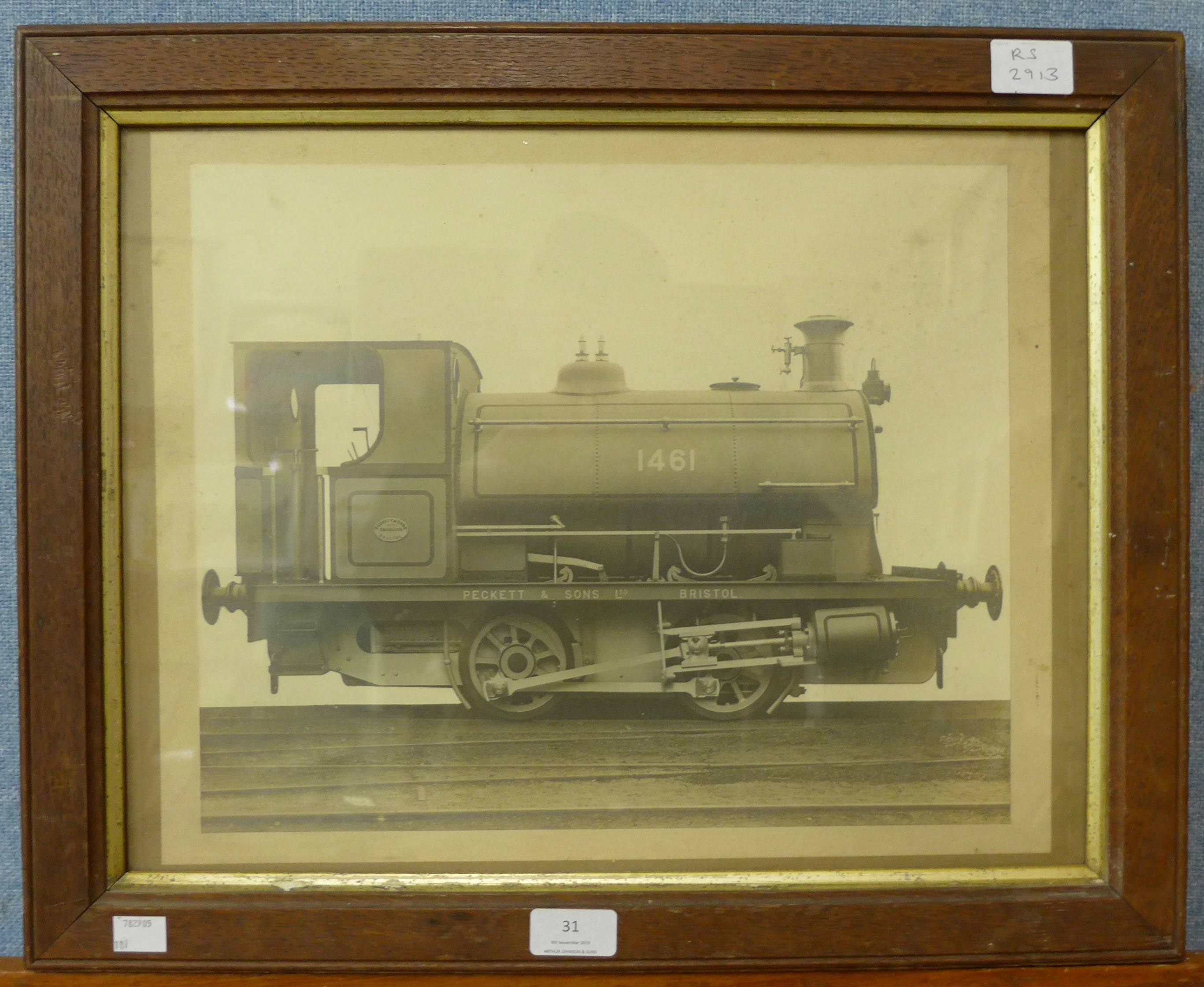 Lot 31 - A black and white photograph of a locomotive, 1461 Peckett & Sons Ltd.