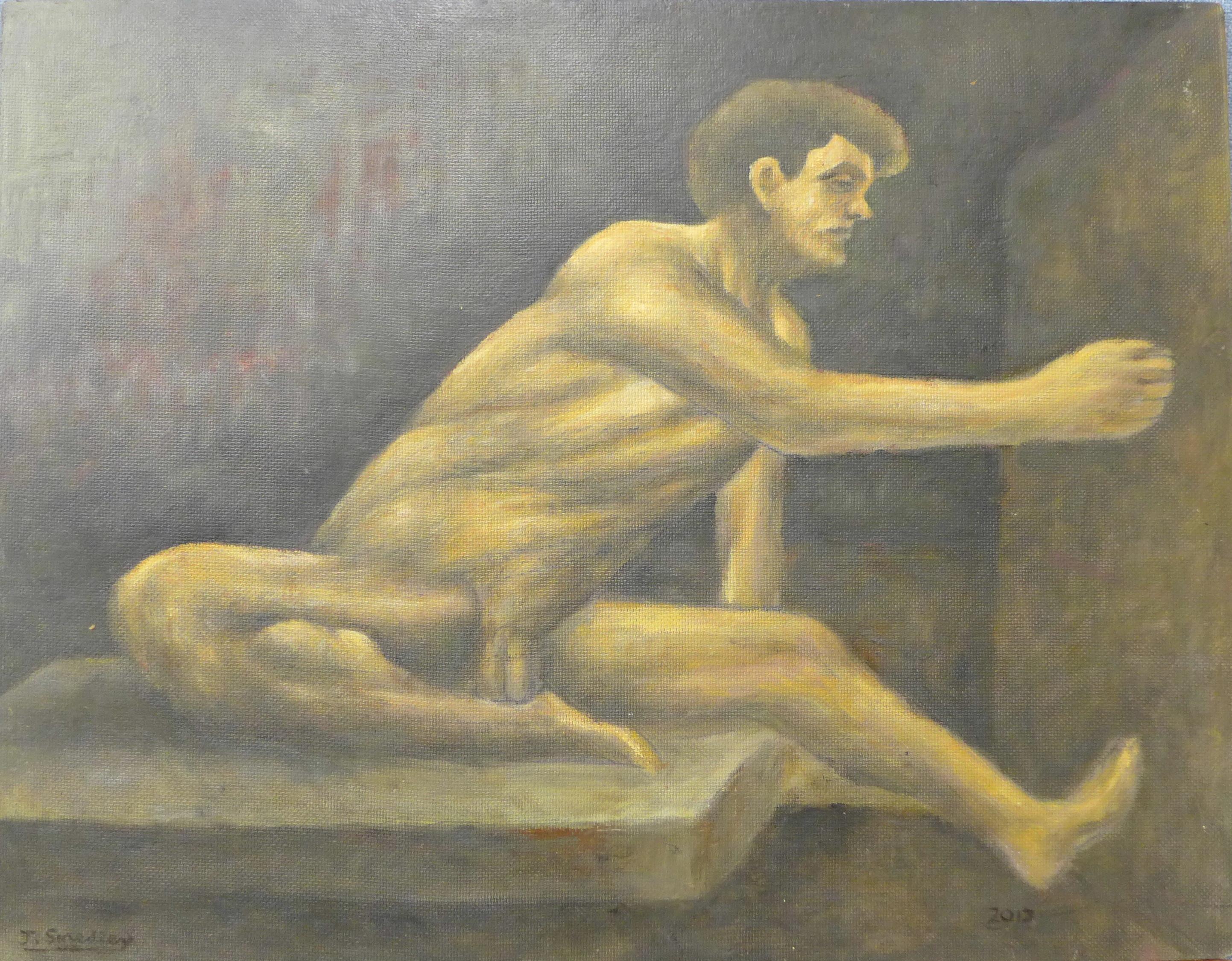 Lot 17 - Joseph Smedley, male nude, oil on board, 48 x 62cms,