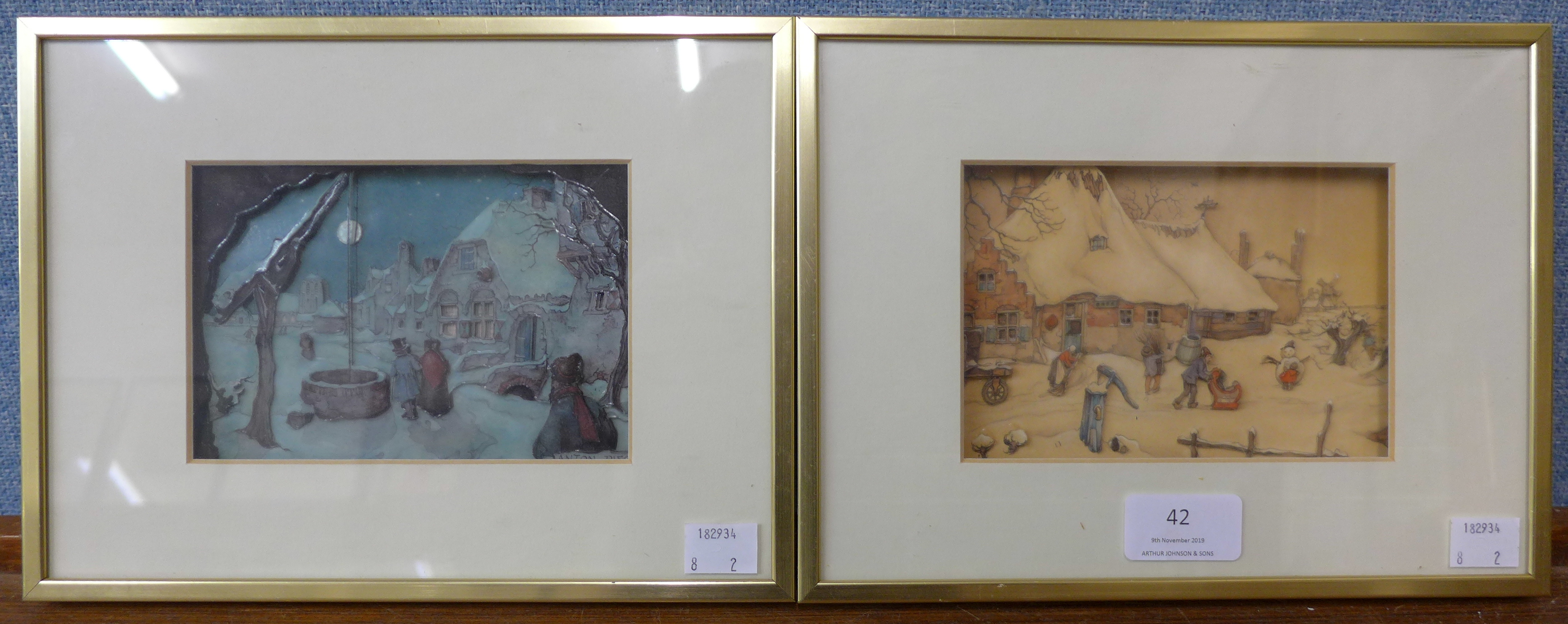 Lot 42 - Anton Pieck (Dutch 1895 - 1987), pair of small relief pictures,