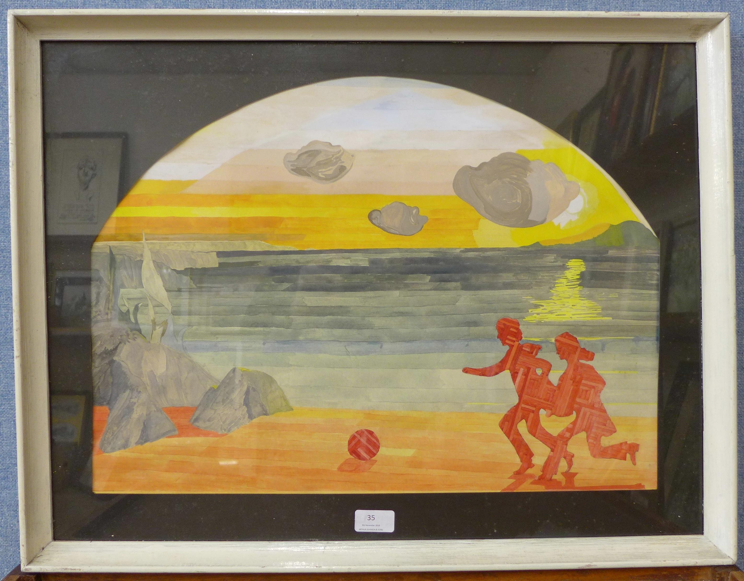 Lot 35 - Howard Chambers (Cubist School), beach landscape, gouache,