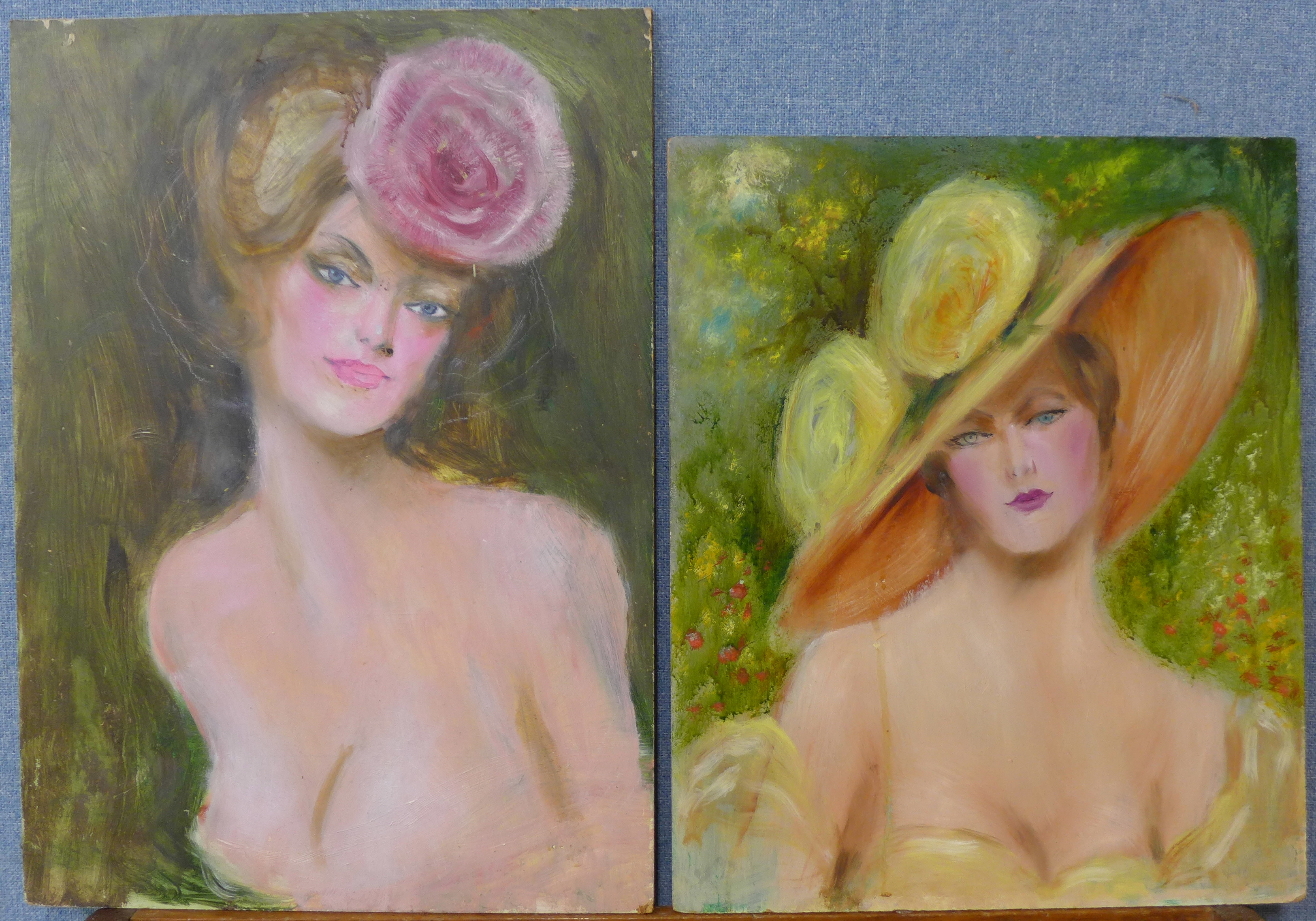 Lot 18B - French School, two portraits of ladies, oil on board,