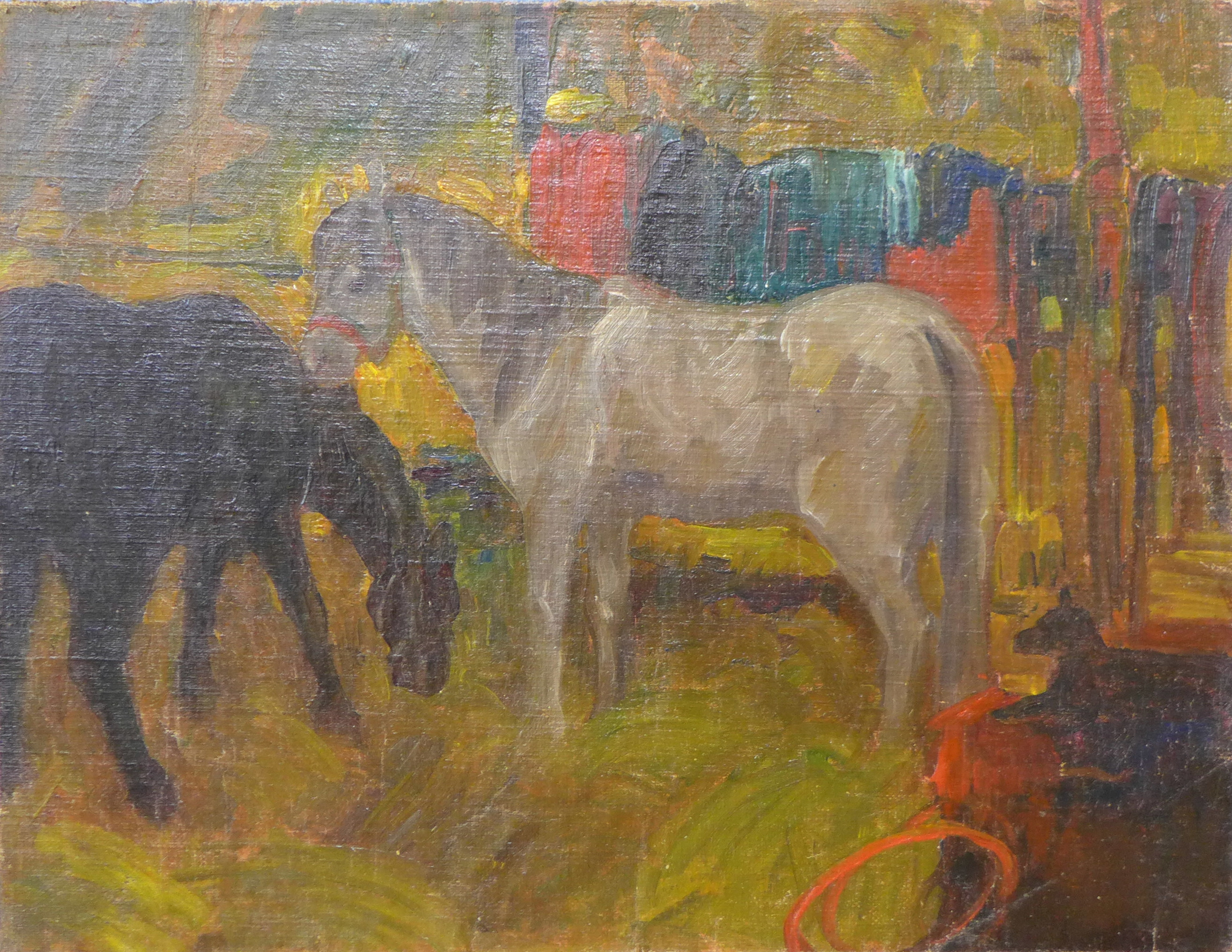 Lot 25 - British School (20th Century), circus horses in a tent, oil on canvas laid on board, 38 x 49cms,