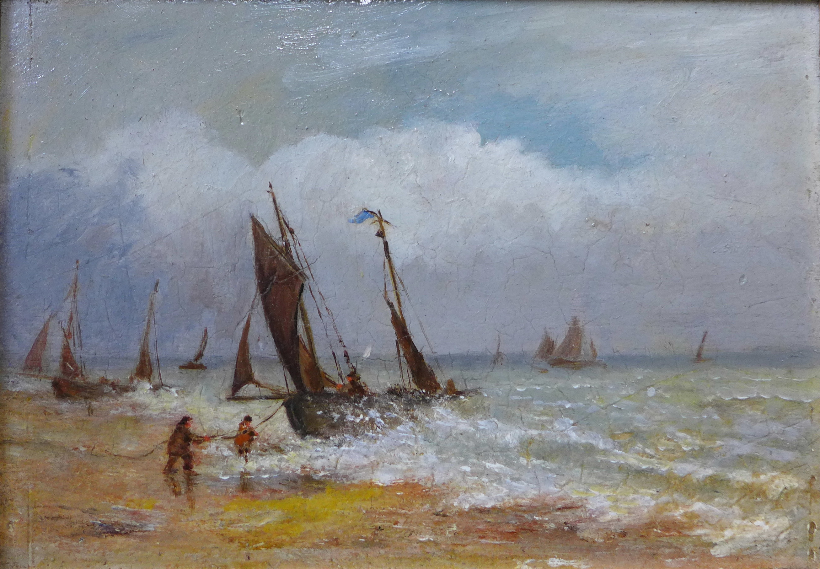Lot 13 - English School (19th Century), coastal landscape with fishermen landing their catch, oil on panel,