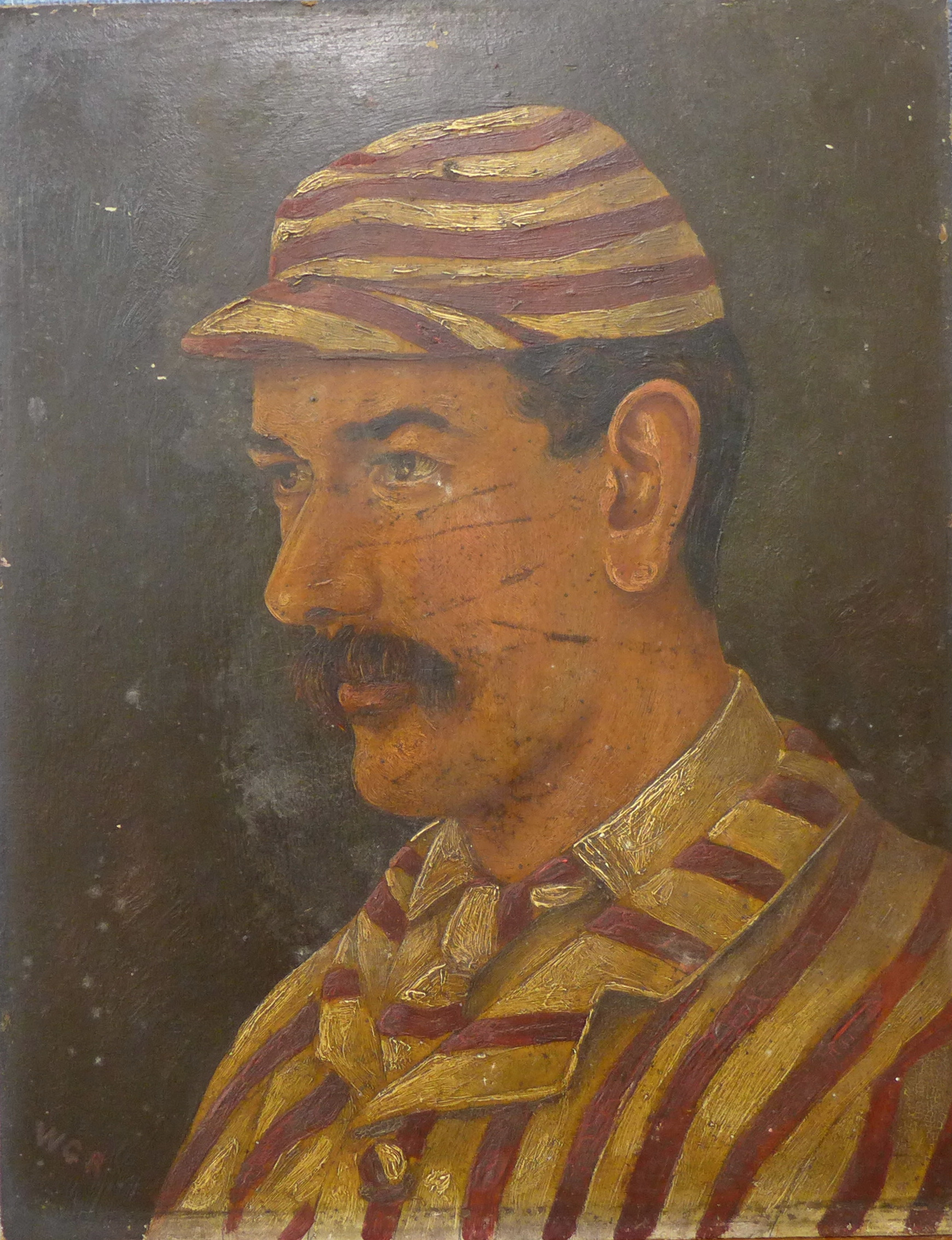 Lot 3 - English School (19th Century), half portrait of a cricketer, oil on board, 33 x 26cms,