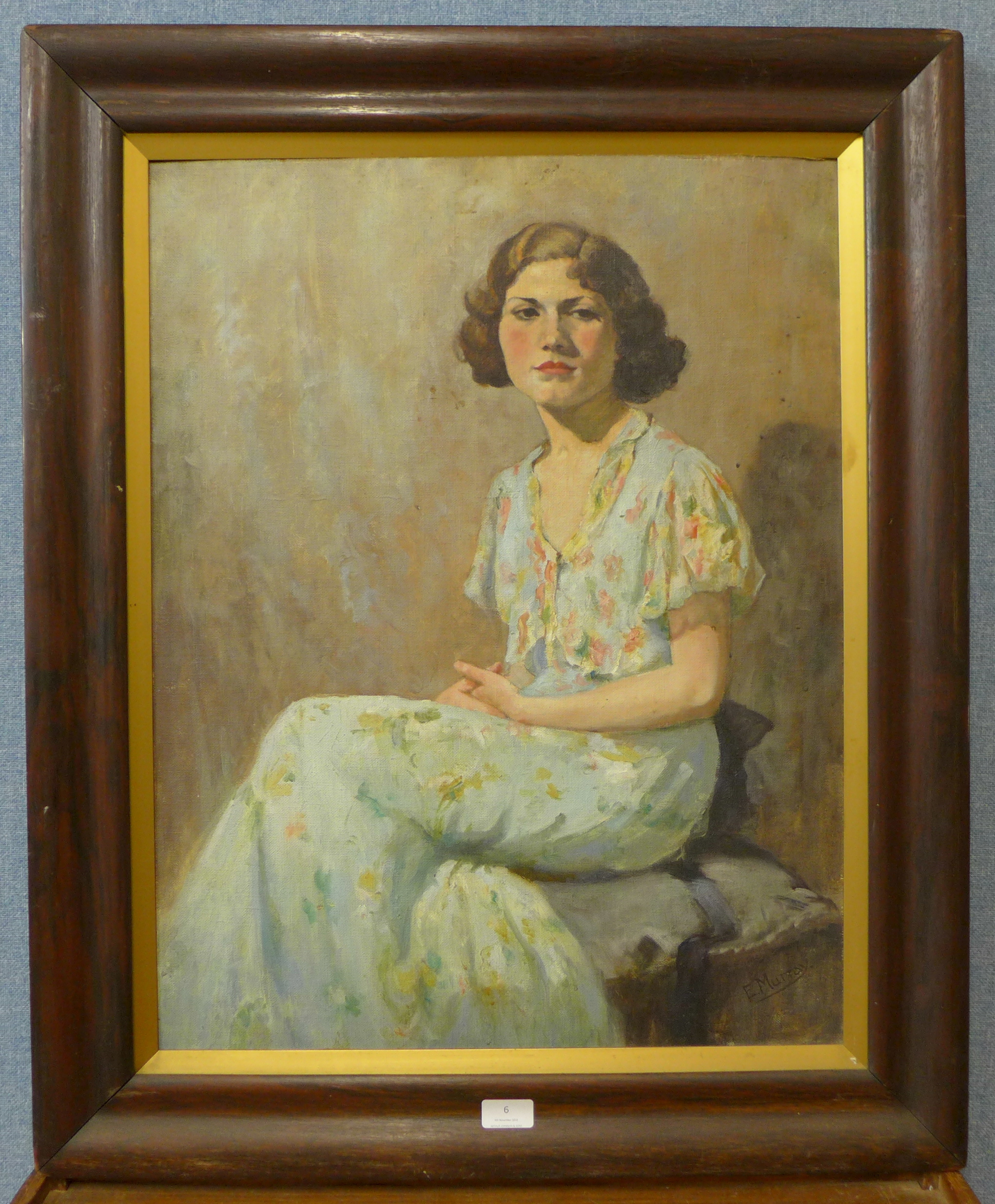 Lot 6 - Elsie Murray, portrait of a lady, oil on panel, 67 x 51cms,