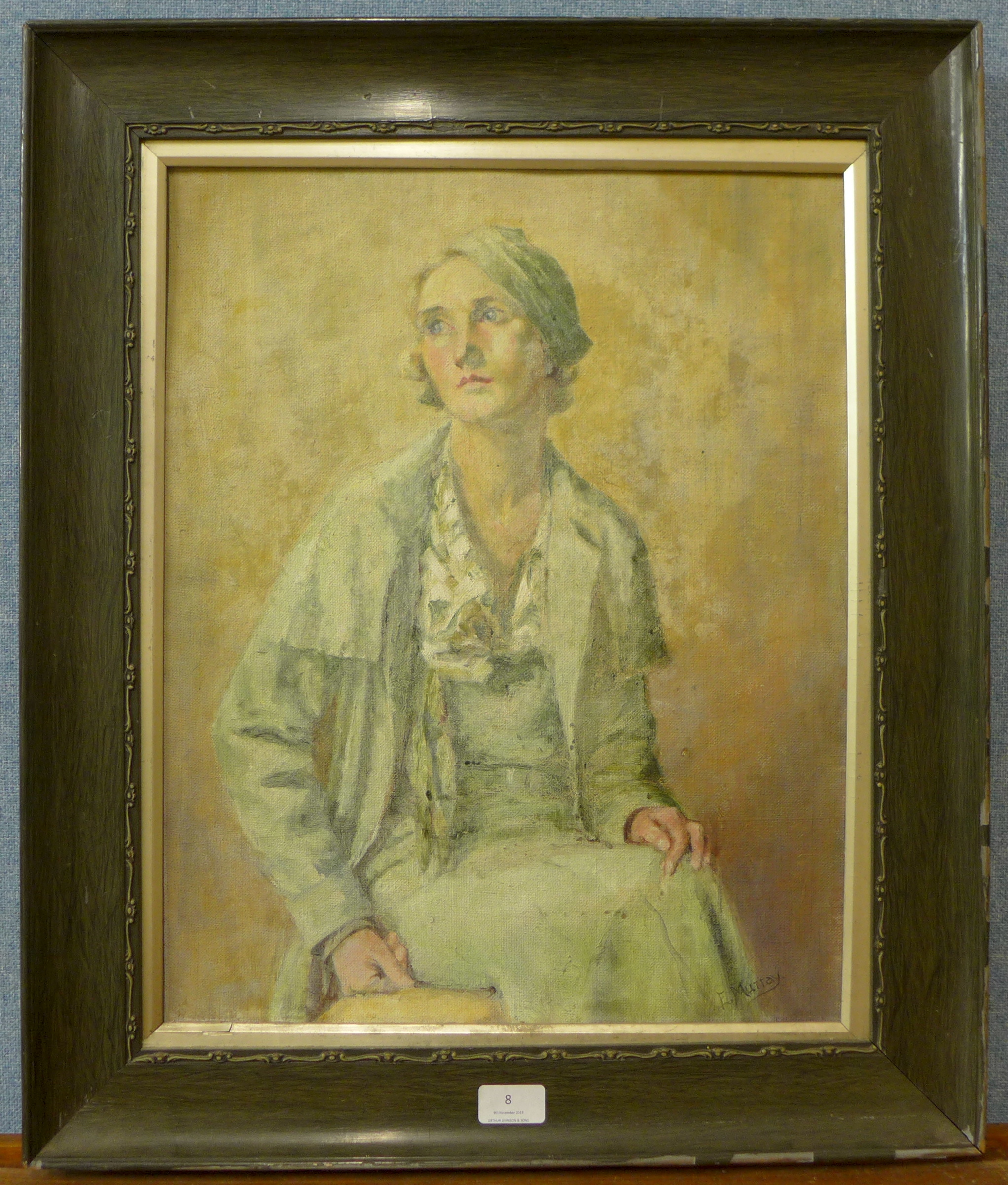 Lot 8 - Elsie Murray, portrait of a lady, oil on panel, 50 x 39cms,