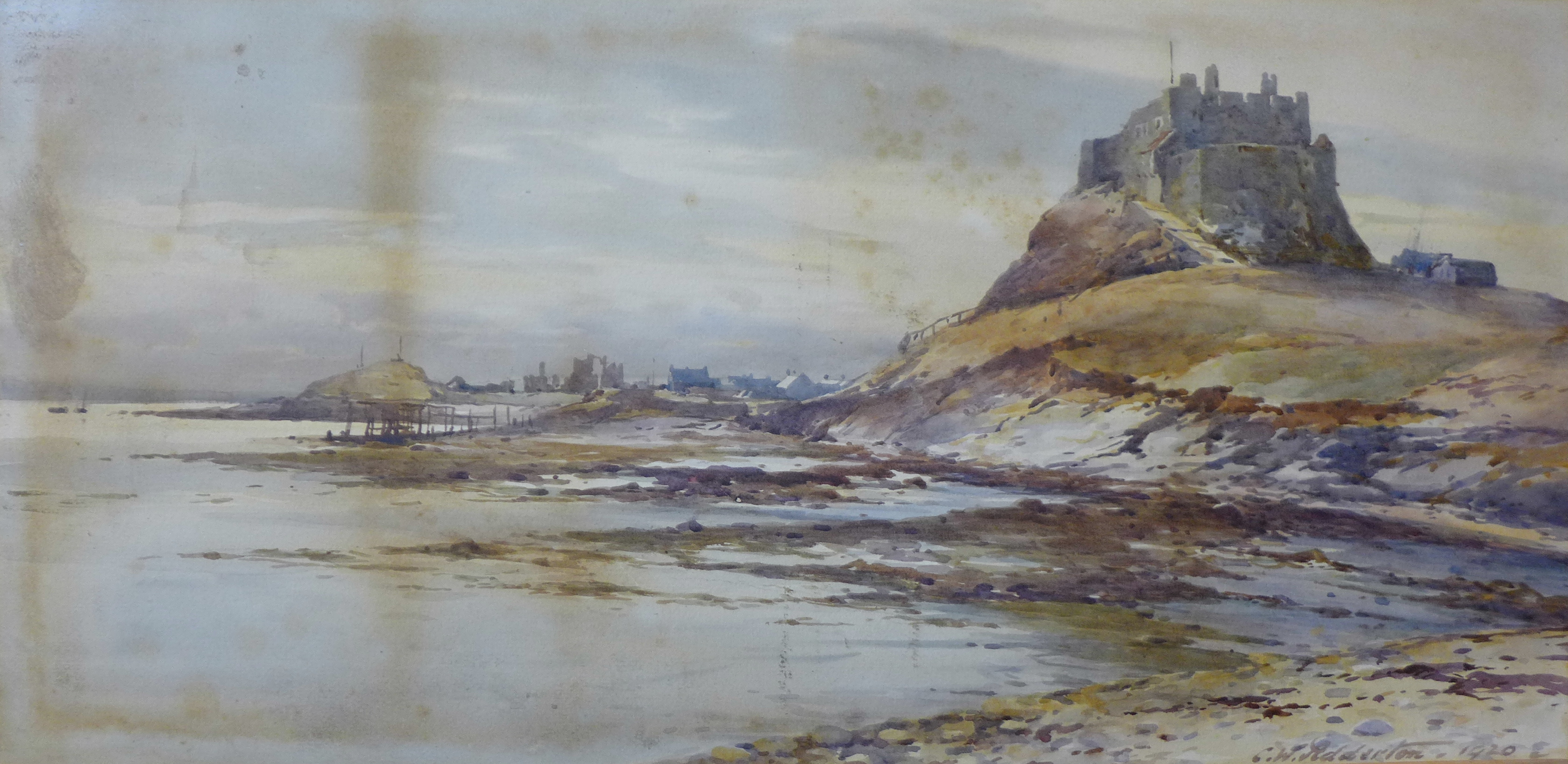 Lot 20 - Charles William Adderton, Lindisfarne, watercolour, 29 x 59cms,