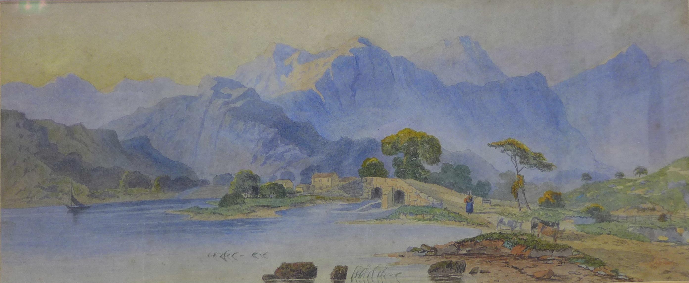 Lot 12 - Continental School, Alpine landscape, watercolour, 18 x 44cms,
