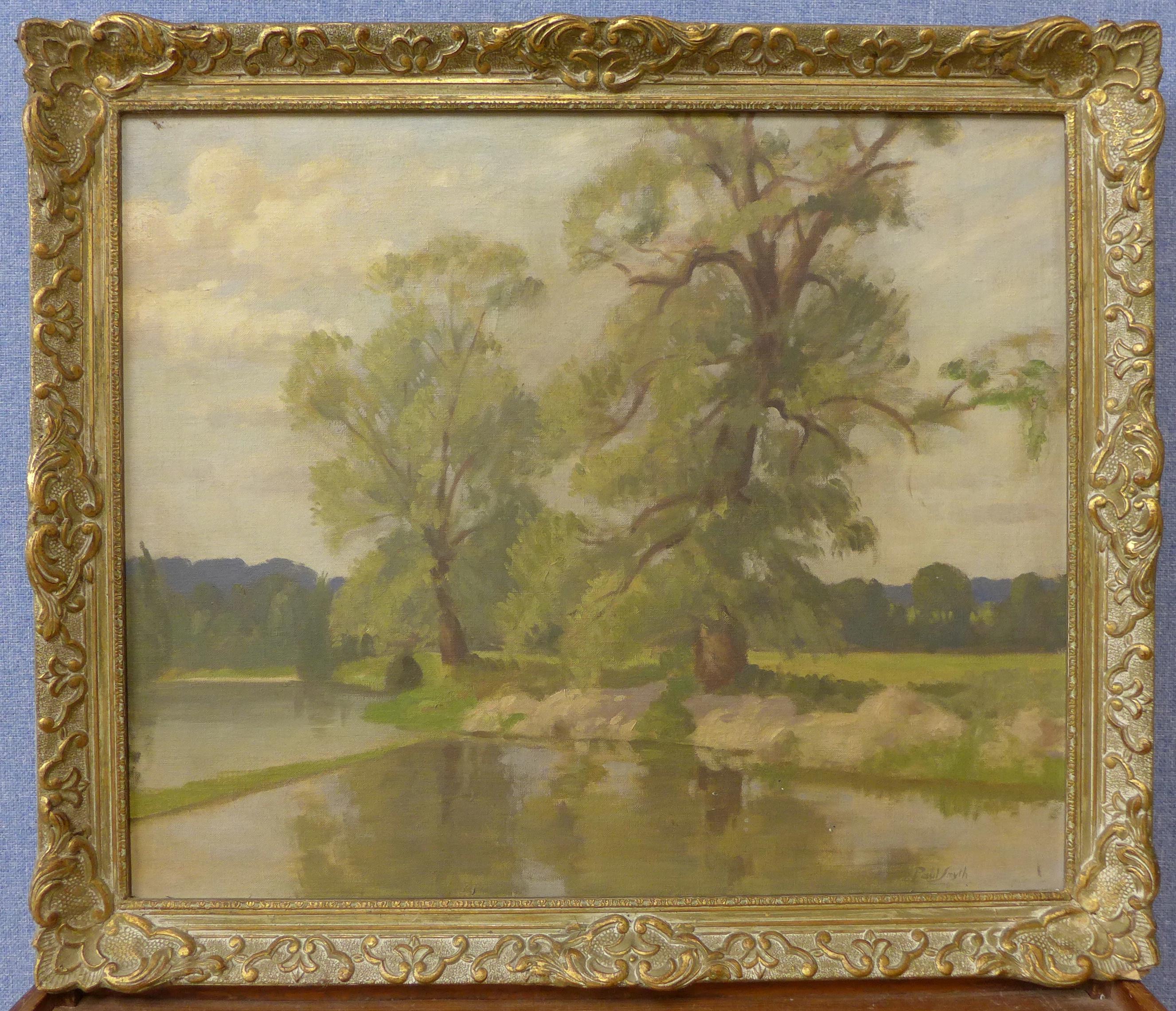 Lot 5 - Paul Smyth (Norfolk School), Poplars by a River, Beswick, oil on canvas, 50 x 60cms,