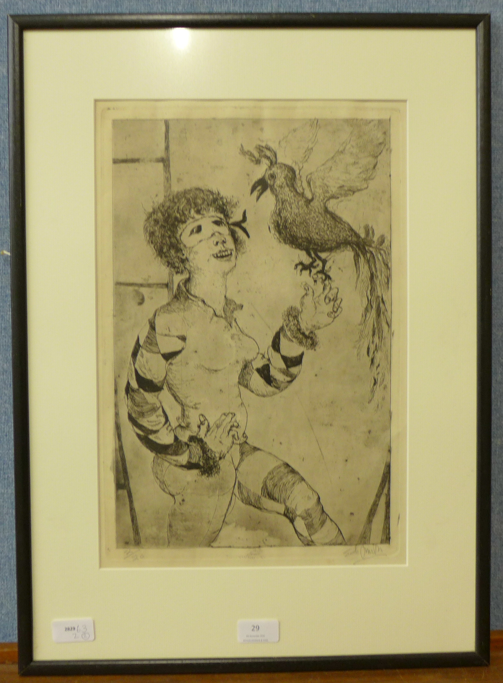 Lot 29 - Ed Smith, Harlequin with parrot, limited edition etching,