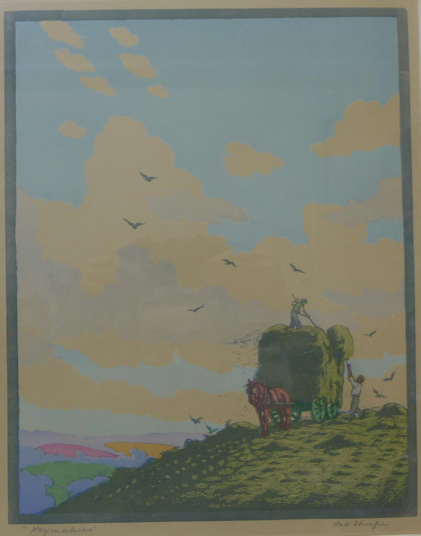 Lot 37 - A signed Hall Thorpe colour woodcut print, Haymakers, 36 x 28cms,