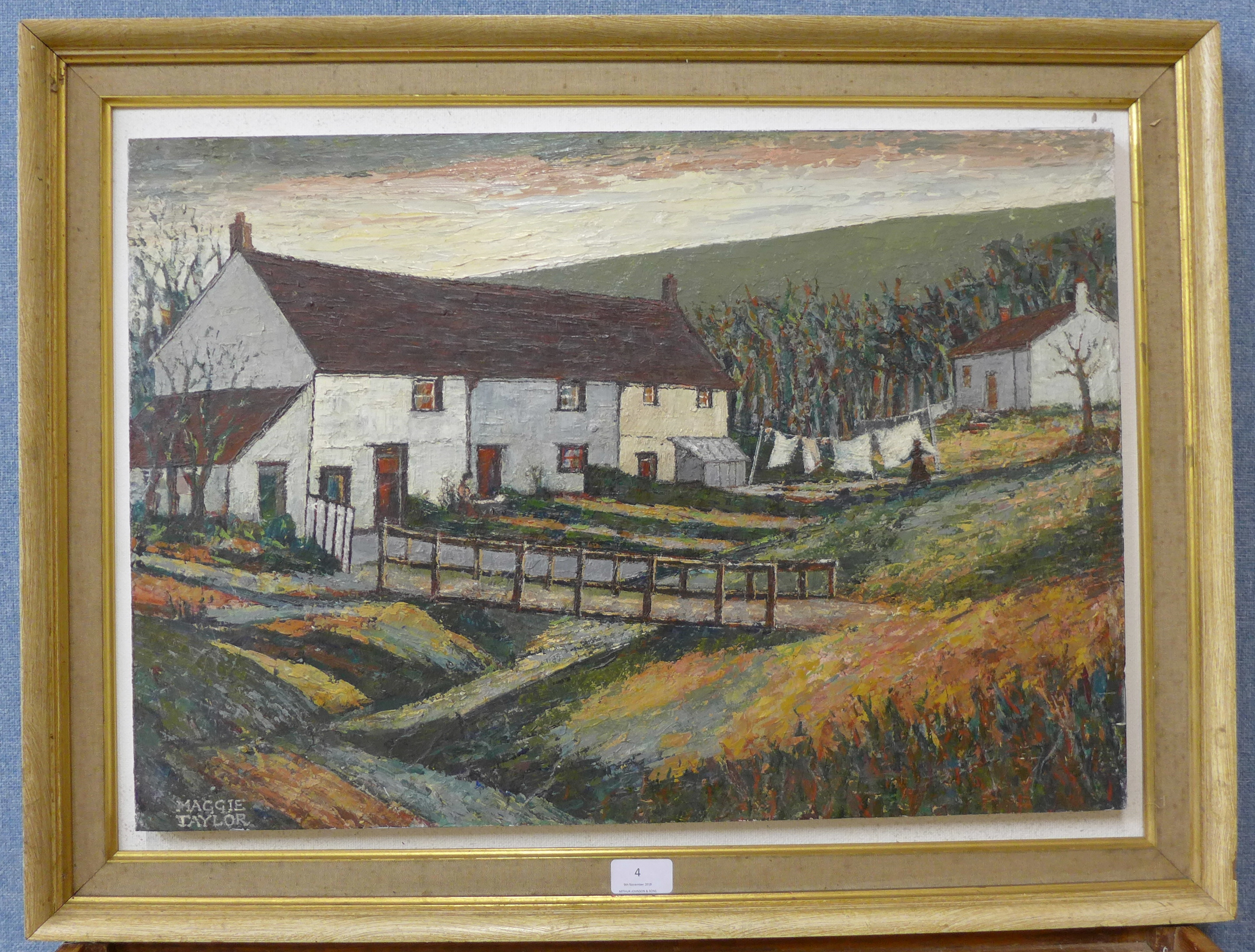 Lot 4 - Maggie Taylor, Cottages Anglezarke, near Bolton, oil on board, 43 x 61cms,