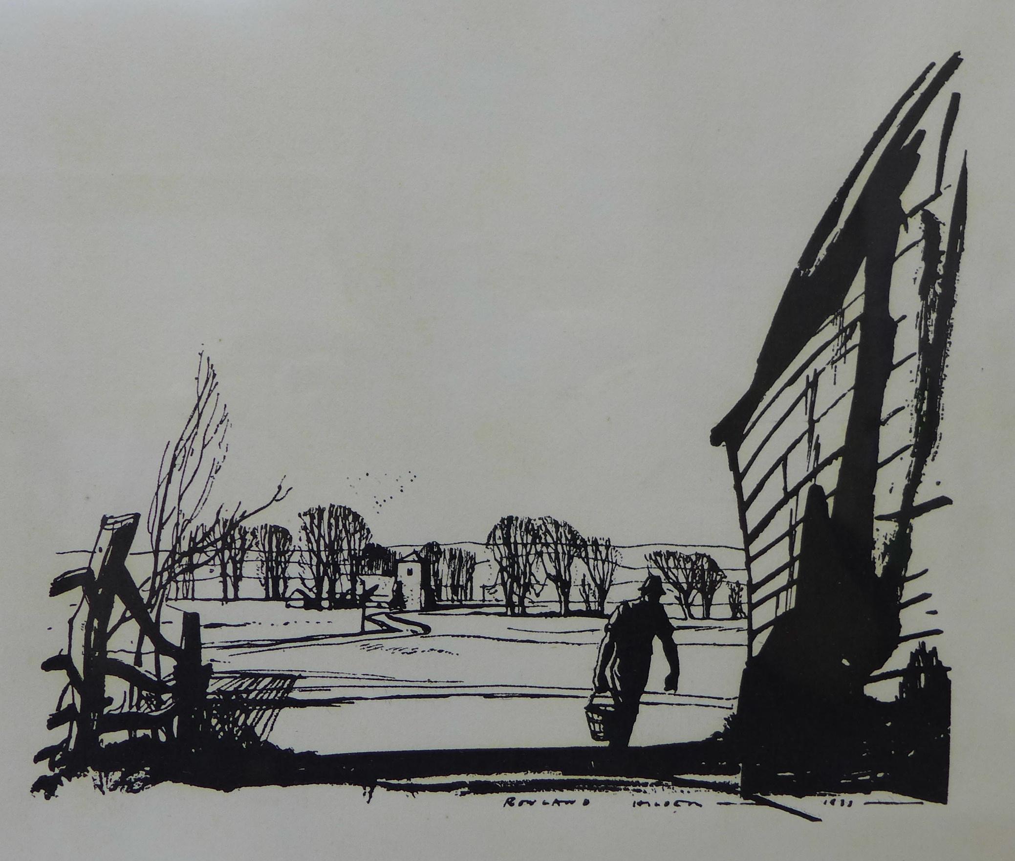 Lot 26 - Rowland Frederick Hilder OBE (1905 - 1993) , landscape, pen and ink, 26 x 28cms,