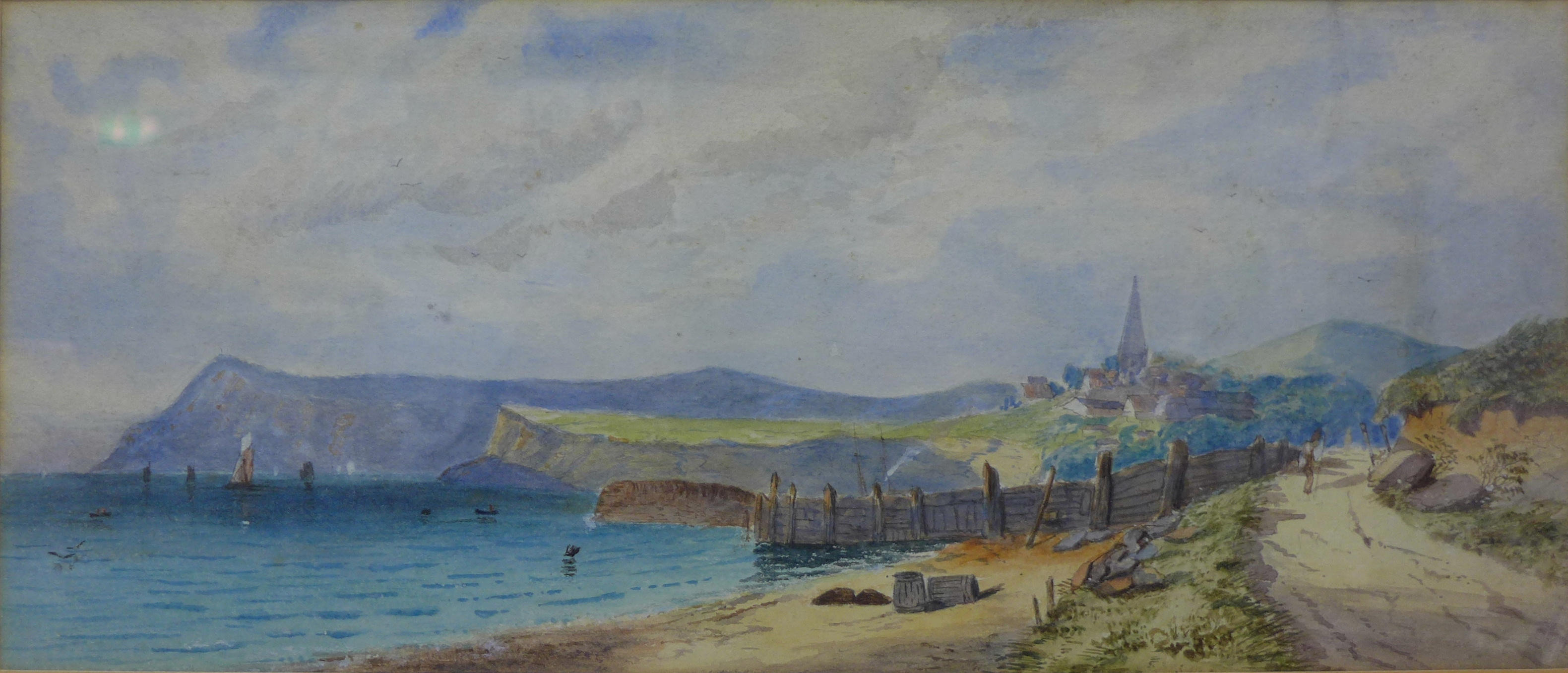 Lot 18 - English School, coastal landscape, watercolour, 16 x 38cms,