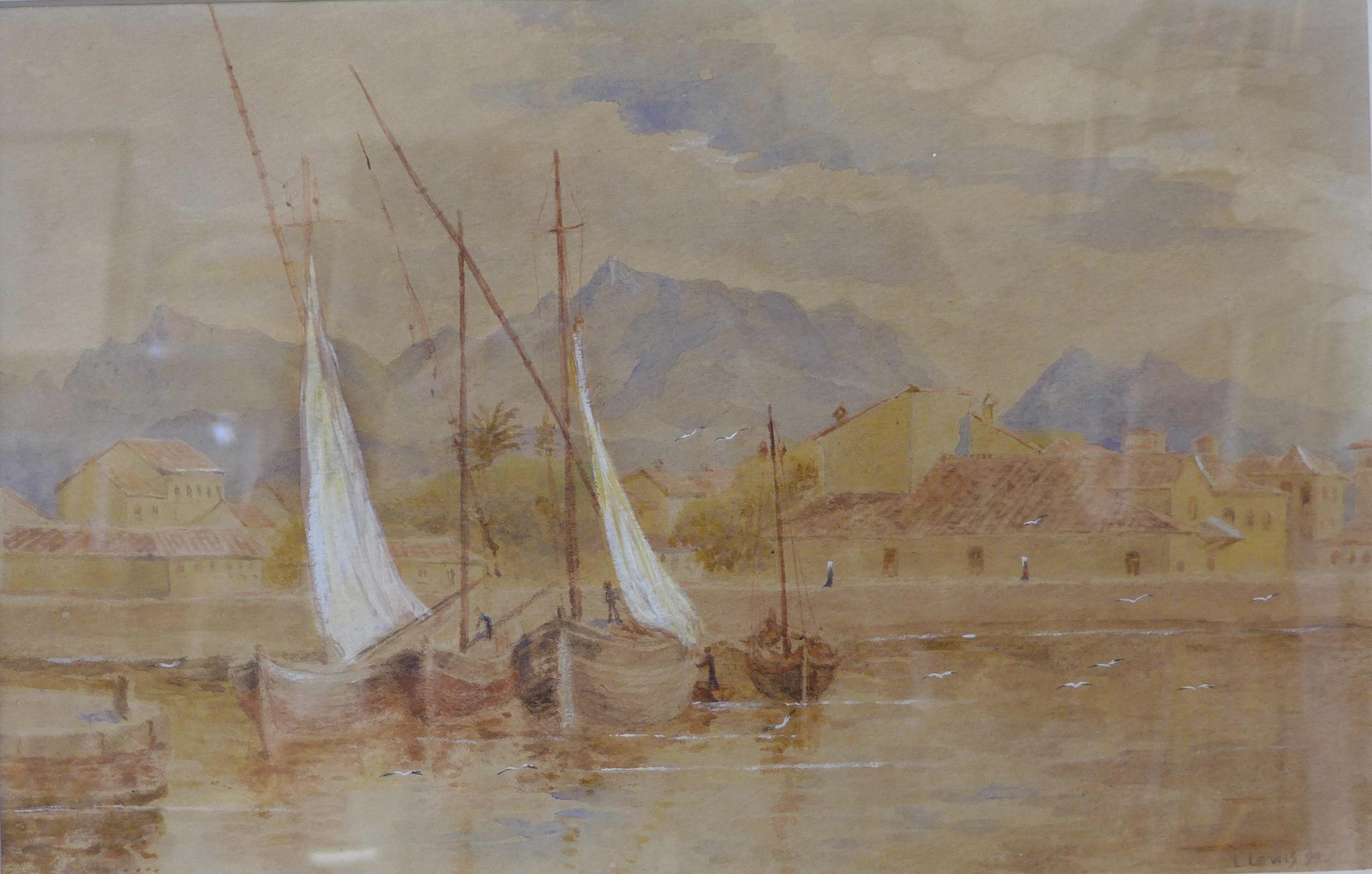 Lot 34 - Leonard Lewis, Viareggio, Near Pisa, watercolour, dated 1899, 20 x 32cms,
