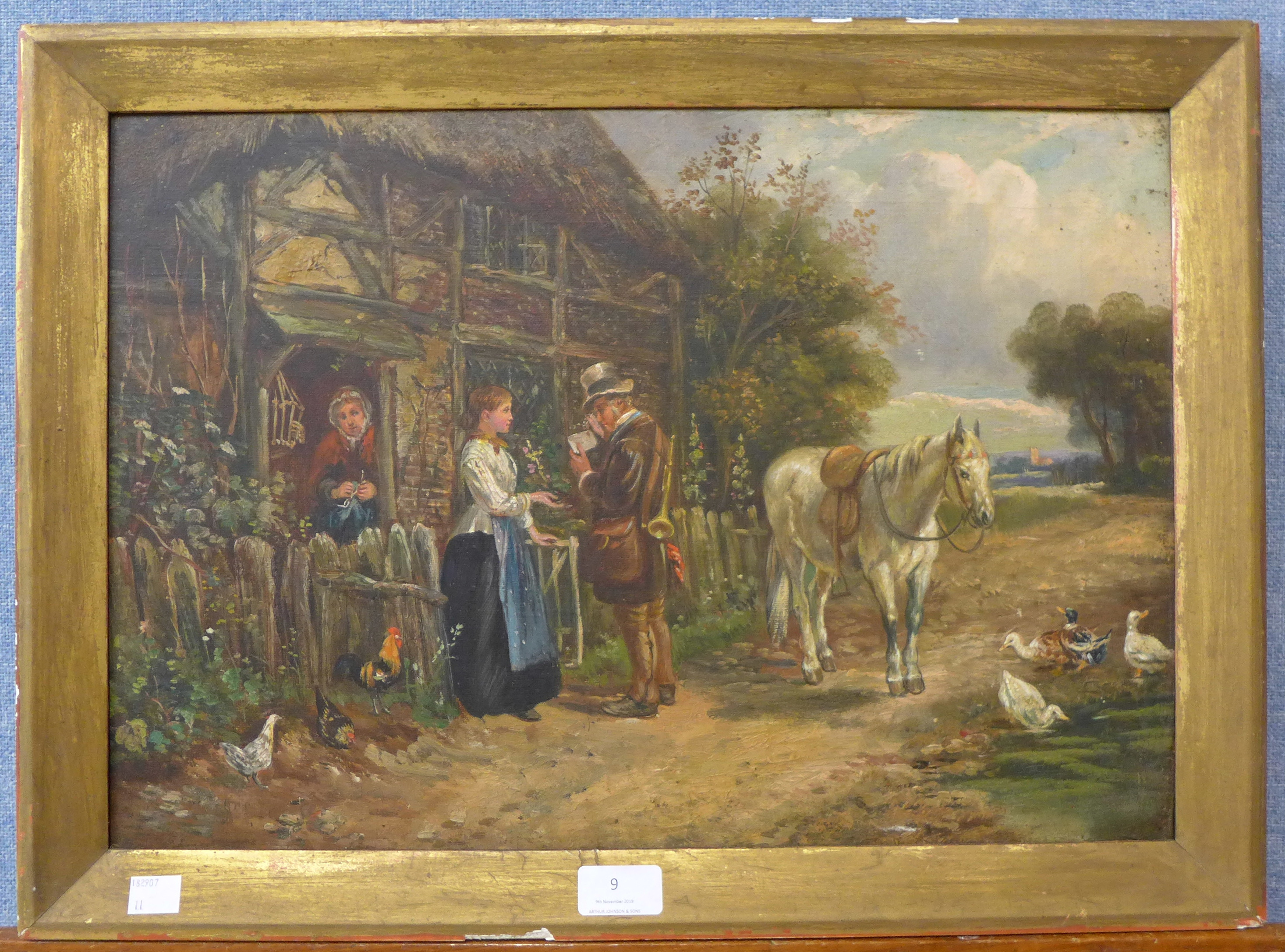 Lot 9 - English School, figures by a cottage, oil on canvas, 34 x 49cms,