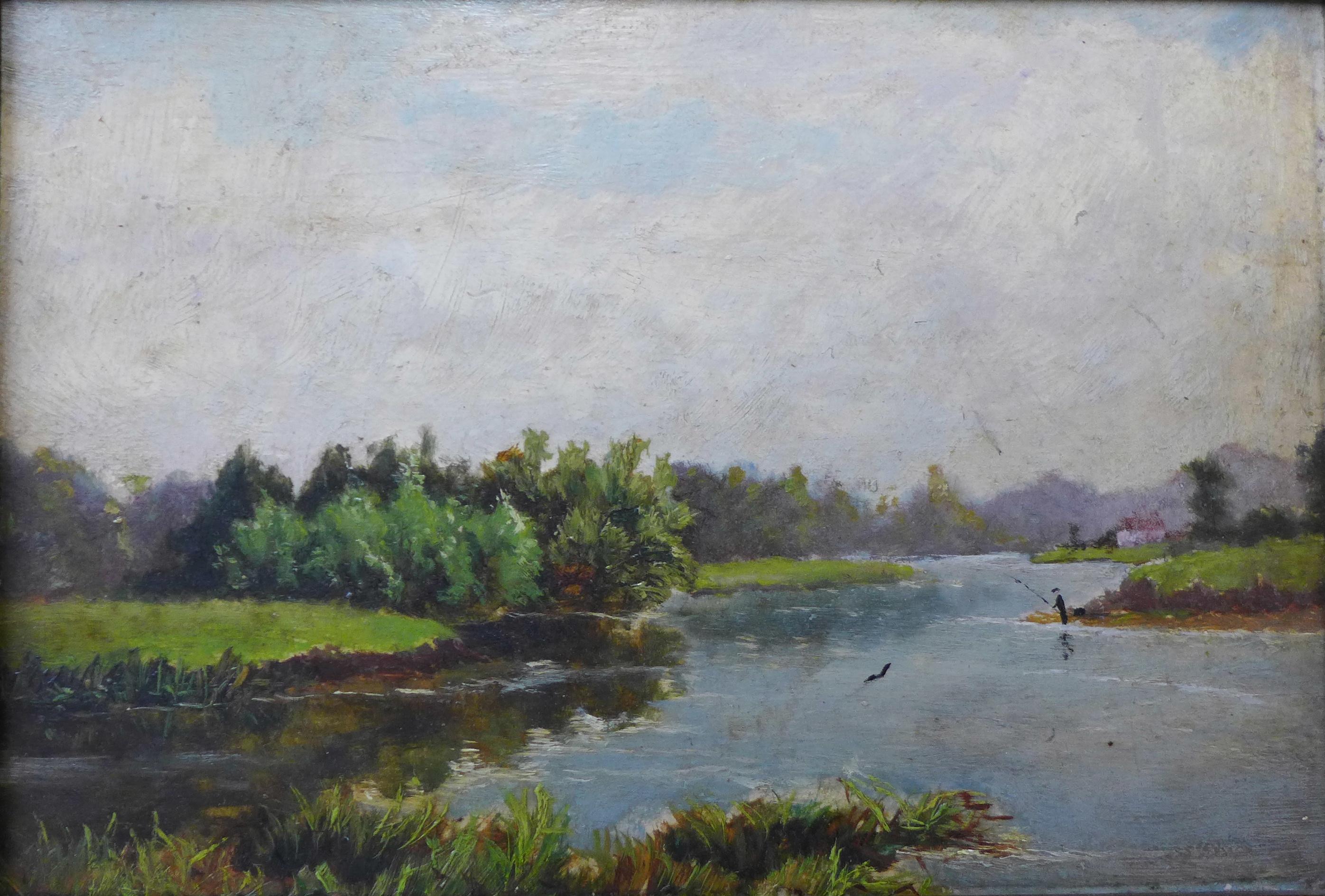 Lot 14 - English School (19th Century), River Trent near Bleasby, Nottinghamshire, oil on board, 16 x 24cms,