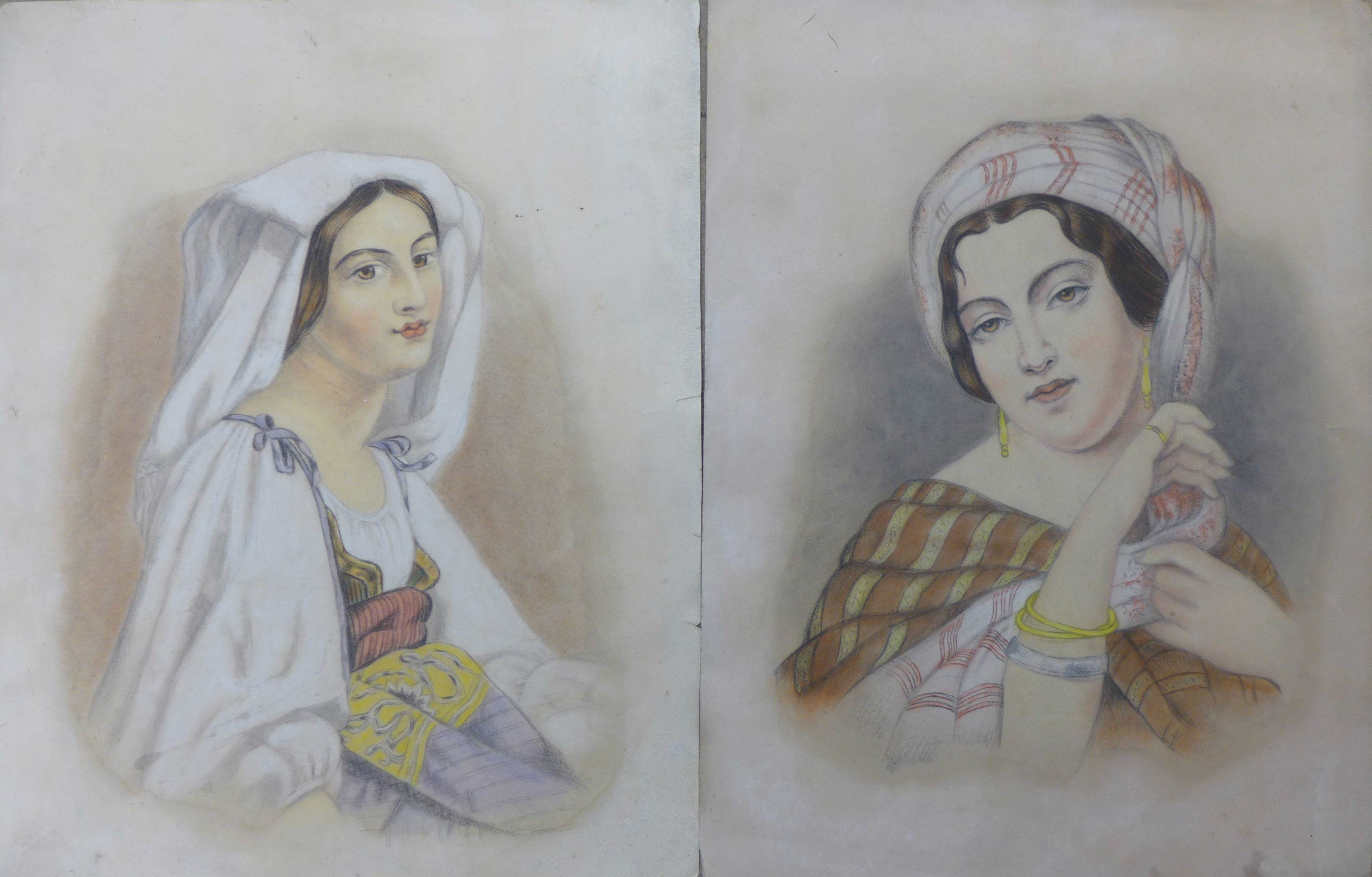 Lot 11 - Continental School (19th Century), pair of gypsy girl portraits, pencil and watercolour, 48 x 36cms,