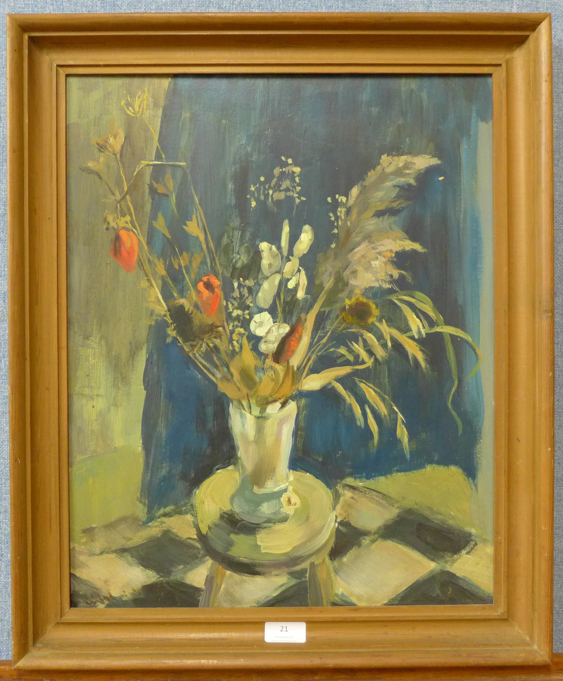 Lot 21 - British Modernist School, still life of flowers in a vase, oil on board, indistinctly signed,