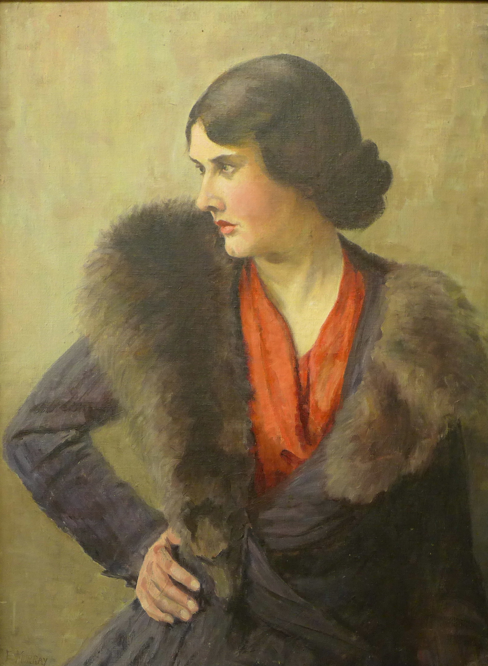 Lot 7 - Elsie Murray, portrait of a lady, oil on panel, 70 x 51cms,