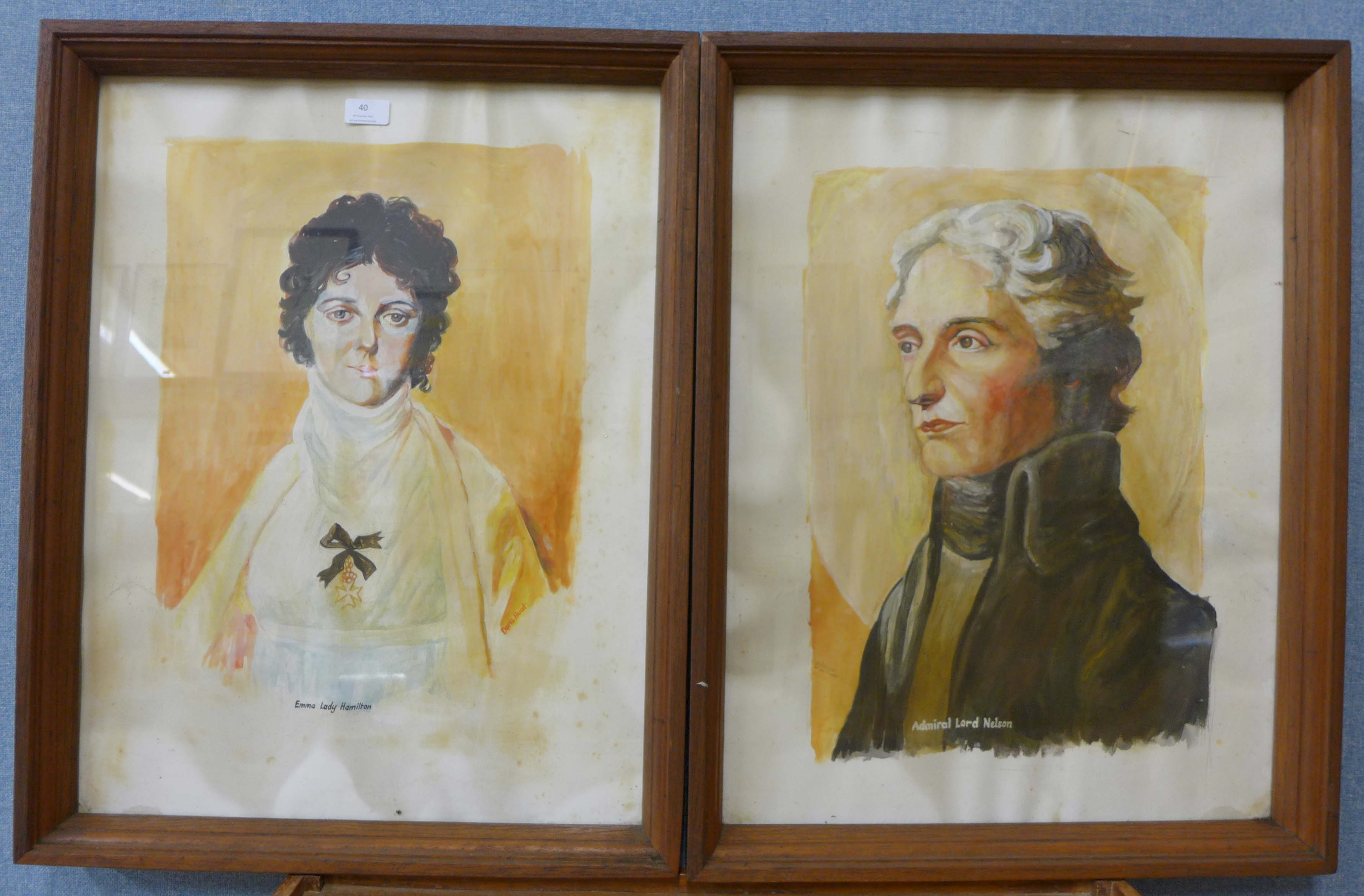 Lot 40 - A pair of portraits, Admiral Lord Nelson and Emma Lady Hamilton, watercolour,