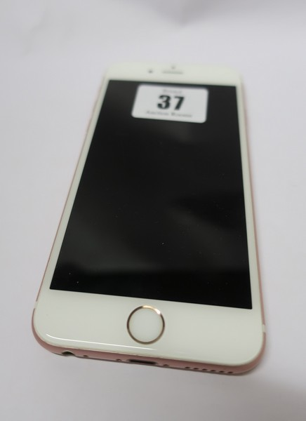 Lot 37 - An Apple iPhone 6S A1688 16GB in Rose Gold (IMEI: 355688075514615) (Activation clear).