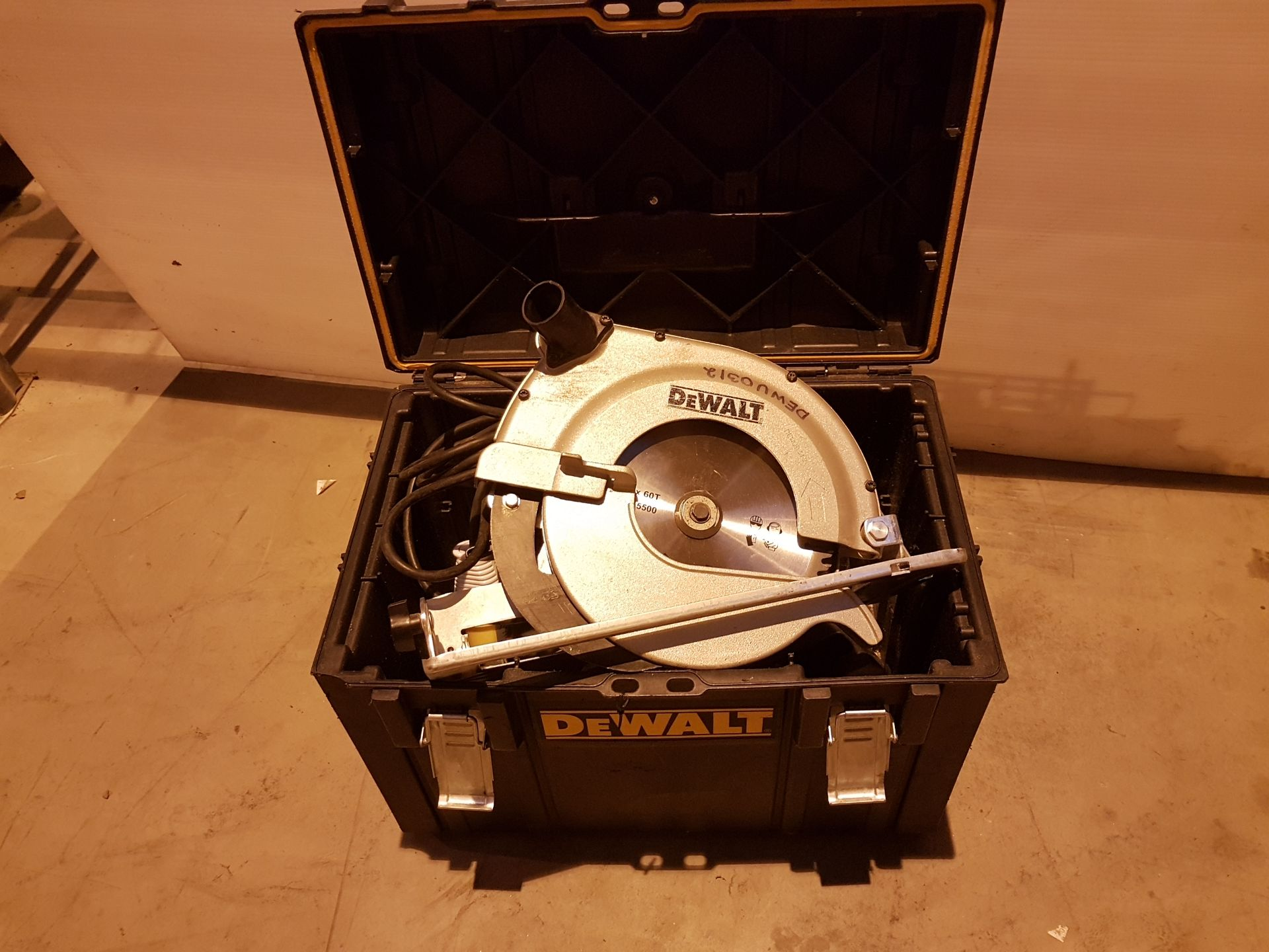 Lot 44 - Dewalt 110v Circular Saw in Box dewu0329, working
