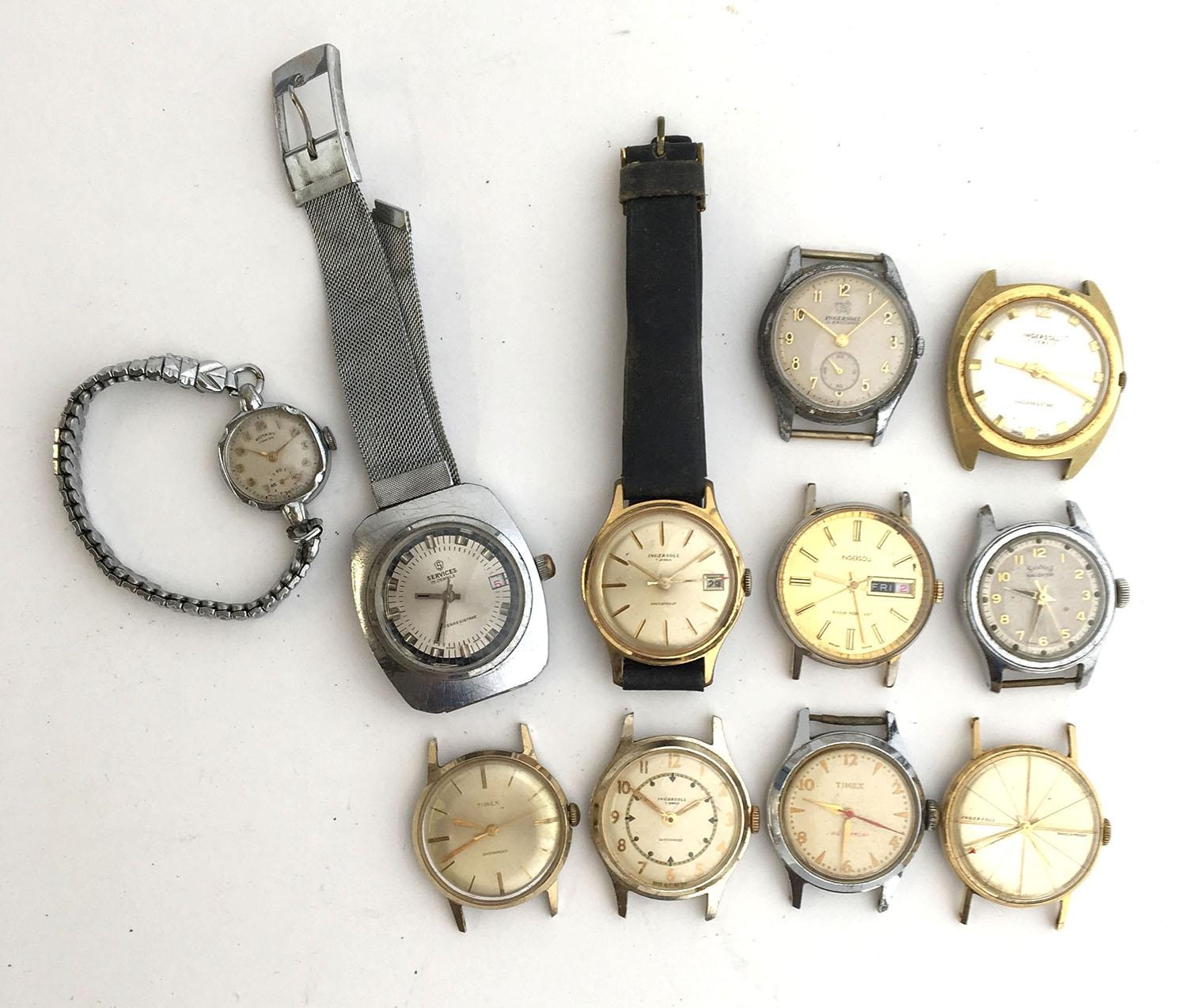 Lot 715 - A mixed lot 11 watches, including Ingesol, Timex, and Services