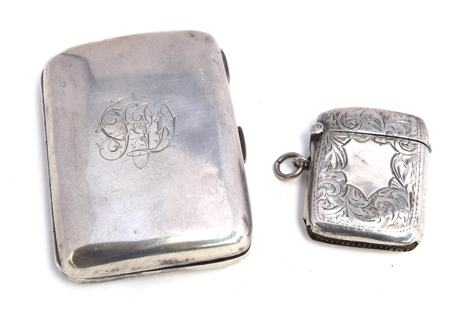 Lot 169 - A silver cigarette case by George Unite & Sons, London 1891, 2.95oz; together with a silver vesta